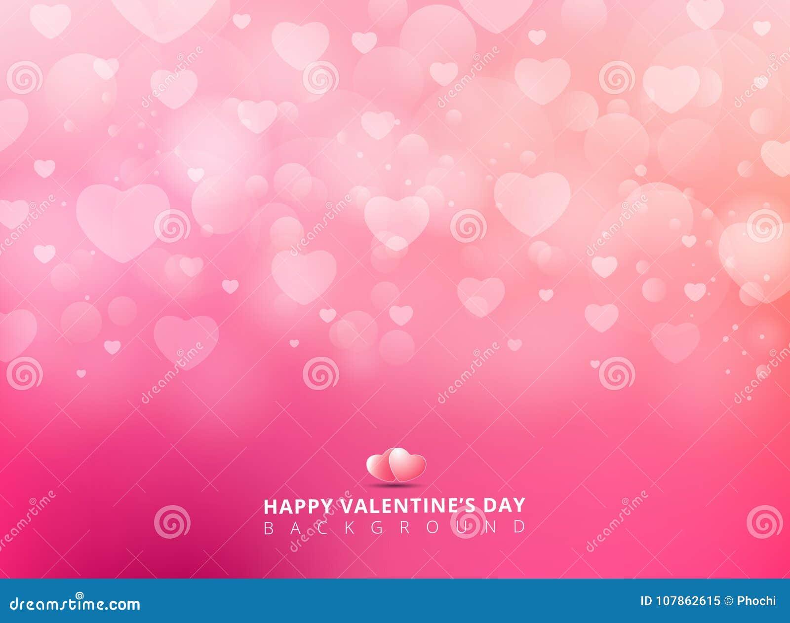 Szczęśliwy valentines dzień z olśniewającym kierowym bokeh na różowym tle