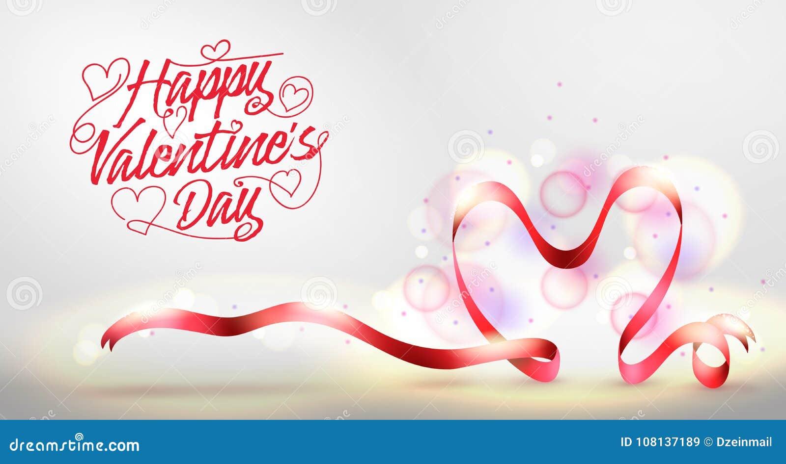 Szczęśliwy walentynka dnia powitania sztandar z Czerwonego serca Kształtnym faborkiem