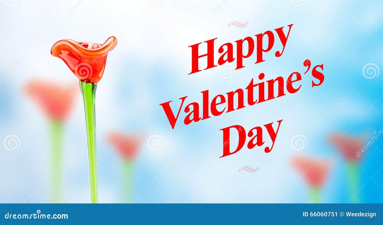 Szczęśliwy walentynka dnia słowo z czerwonymi szklanymi kwiatów polami dalej zamazuje a