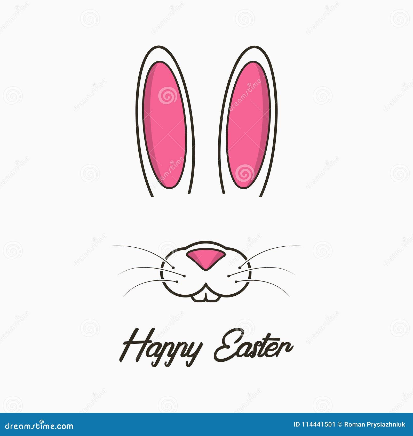 Szczęśliwy Wielkanocny kartka z pozdrowieniami z królikiem Świętowanie sztandar, plakat z Easter królika twarzą i ucho, wektor