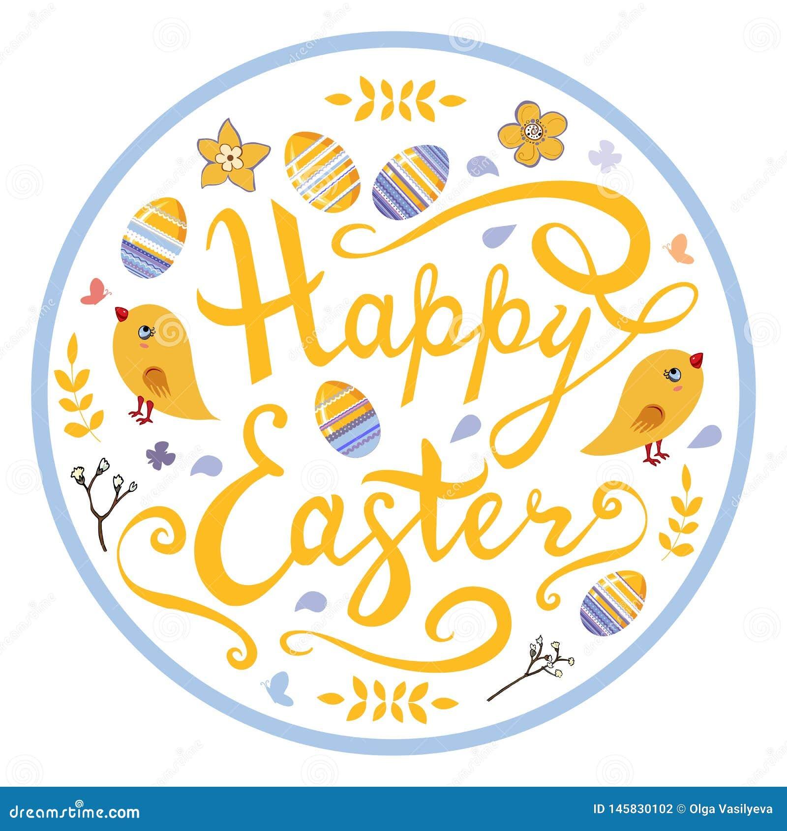 Szczęśliwy Wielkanocny literowanie z ptakami, jajkami, ziele i kwiatami w okręgu odizolowywającym na białym tle,