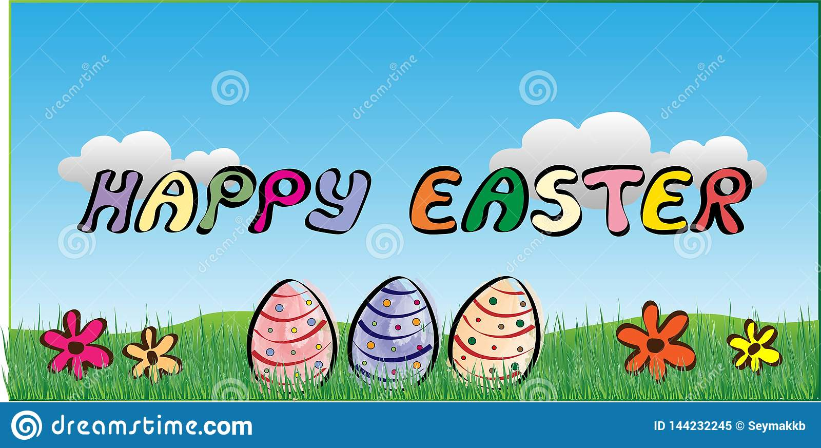 Szczęśliwy Wielkanocny tło Z jajkami, kwiatami i chmurami,