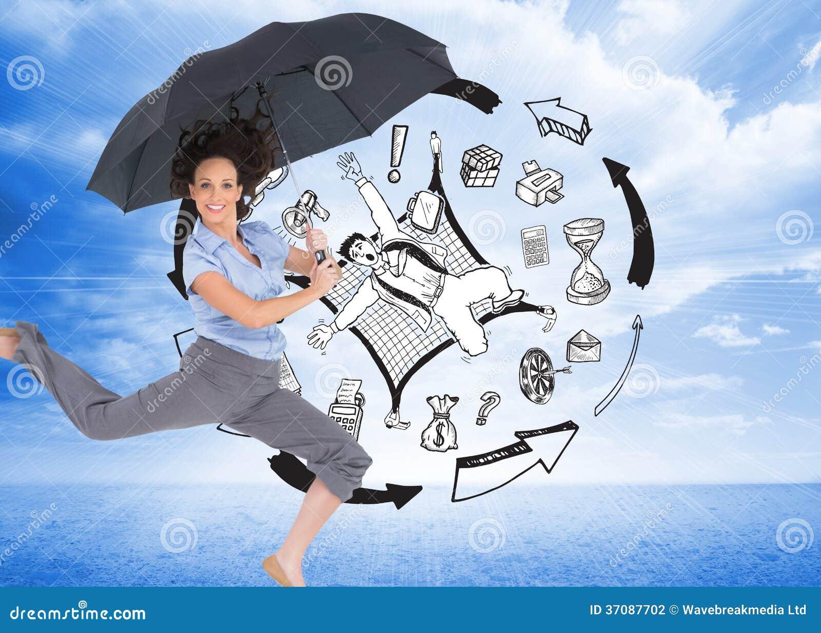 Download Szczęśliwy Z Klasą Bizneswomanu Doskakiwanie Podczas Gdy Trzymający Parasol Zdjęcie Stock - Obraz złożonej z jeden, biznes: 37087702