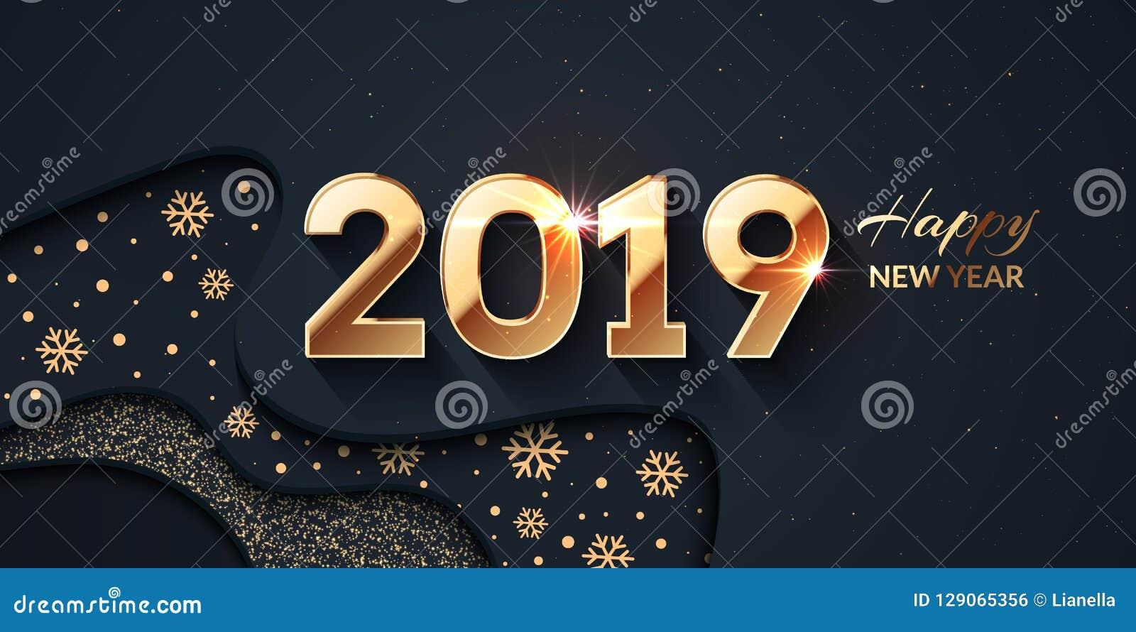 2019 Szczęśliwych nowego roku złota i zmroku tło