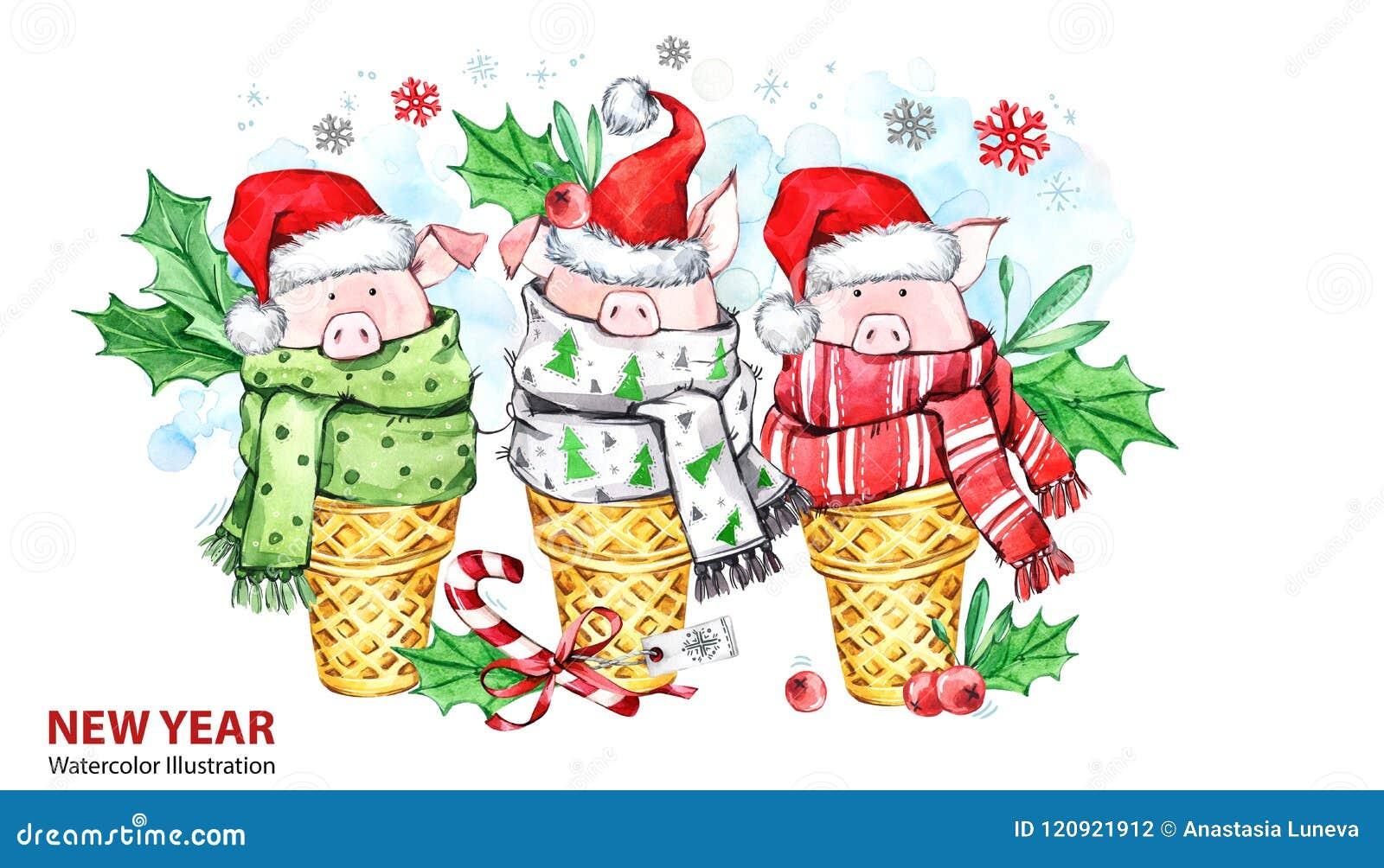 2019 Szczęśliwych nowy rok ilustracj tła rabatowego pudełek bożych narodzeń prezenta złoci odosobneni faborki biały Śliczne świni