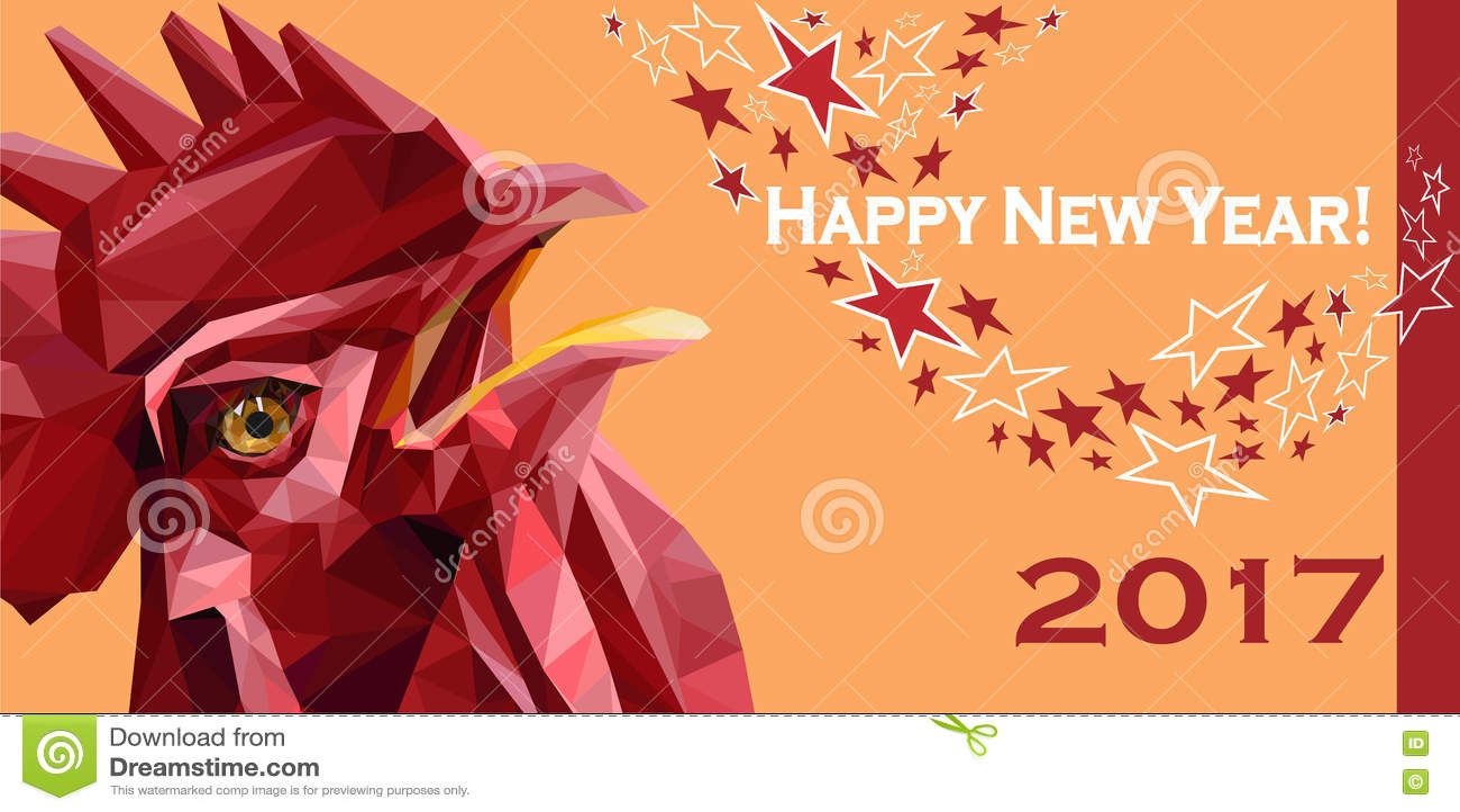 2017 Szczęśliwych nowy rok kartka z pozdrowieniami Chiński nowy rok czerwony kogut