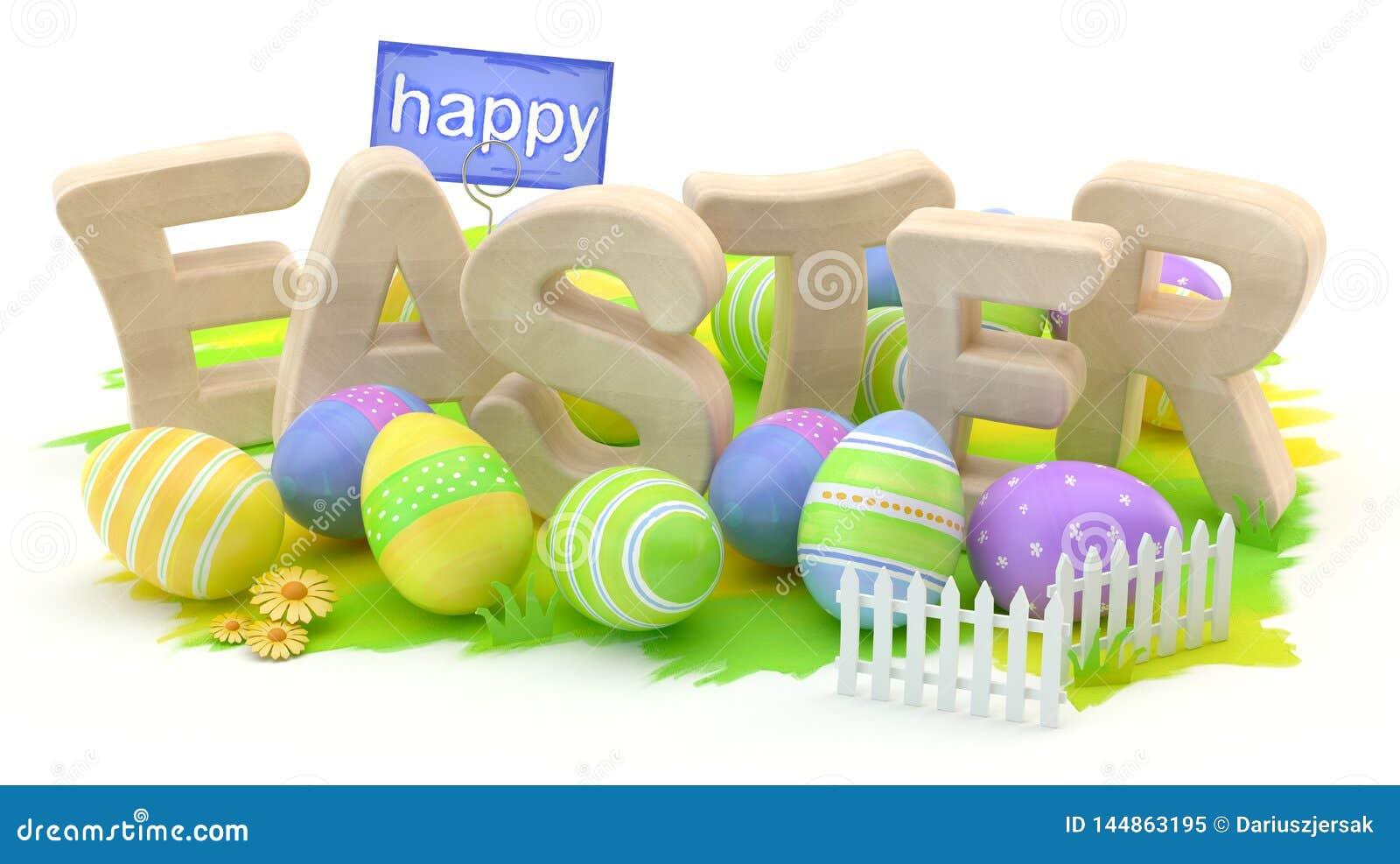 Szcz??liwy Easter, 3d ilustracja