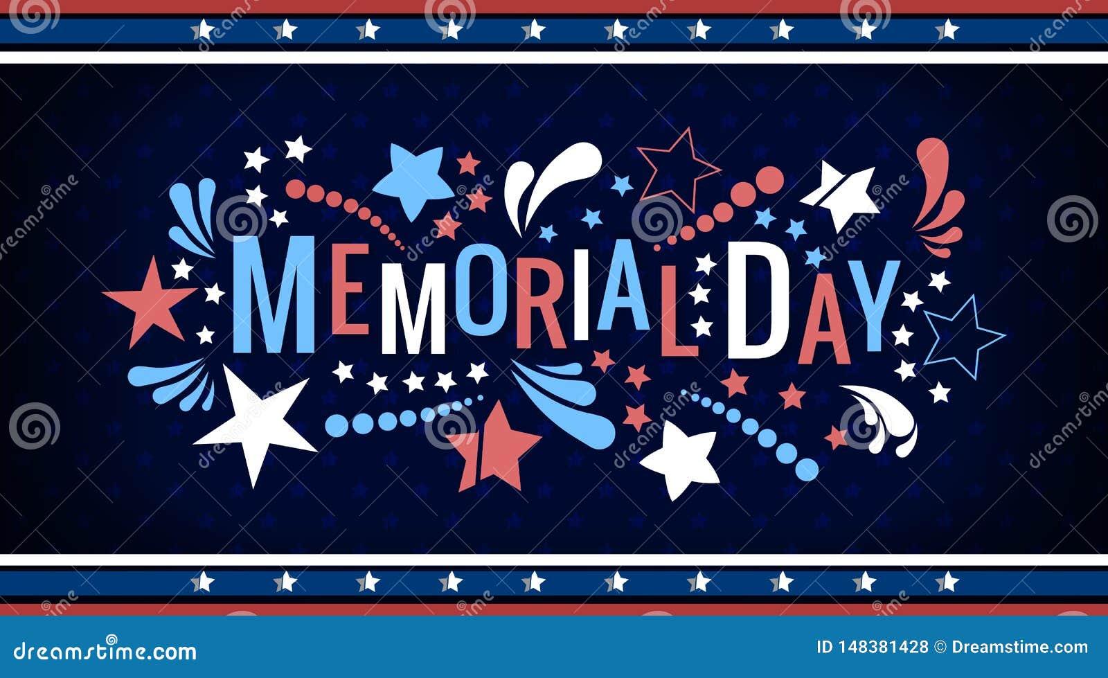 Szcz??liwy Memorial Day literowania zwrot w wektorze Krajowa ameryka?ska wakacyjna ilustracja z koloru abstraktem i gwiazdami