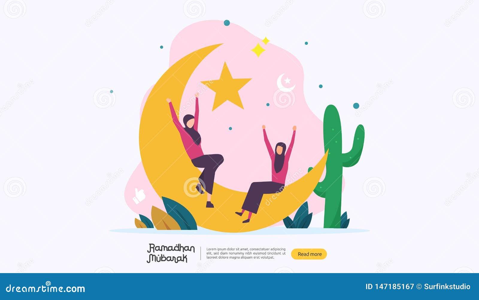 Szcz??liwy Ramadan Mubarak powitania poj?cie z lud?mi charakteru dla sieci l?dowania strony szablonu, sztandar, prezentacja, socj