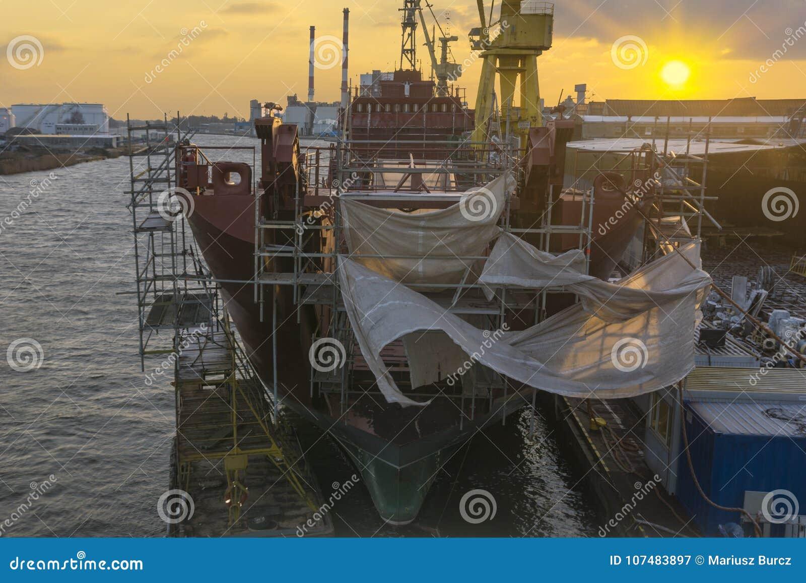 Szczecin, Poland-January 2018: Renovation of the Polish Navy shi