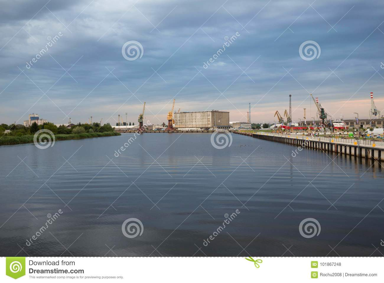 Szczecin in Poland / Waterfront view of the industrial areas of the port