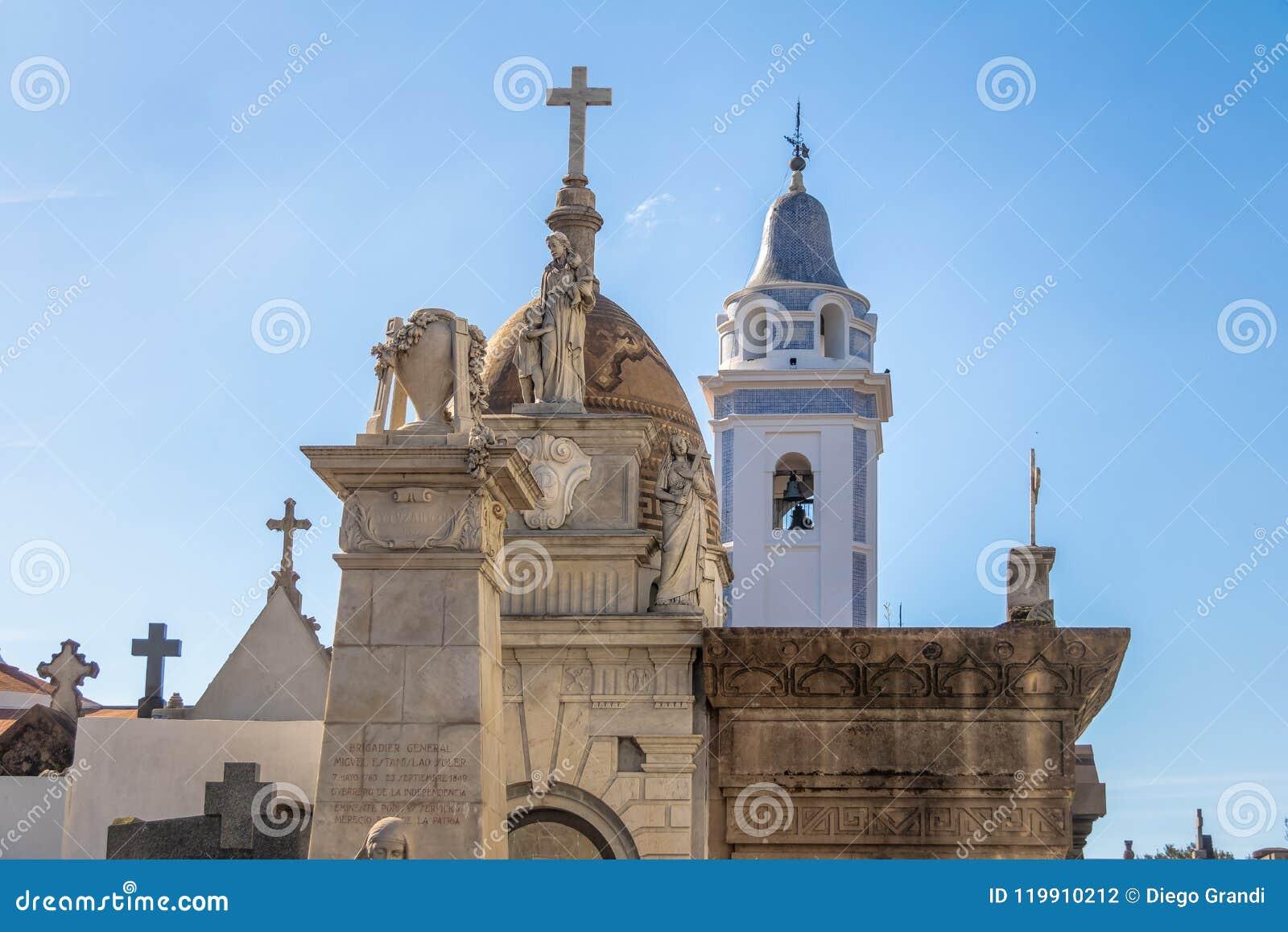 Szczegół Recoleta kościół i cmentarza bazyliki De Nuestra Senora Del Pilar wierza - Buenos Aires, Argentyna