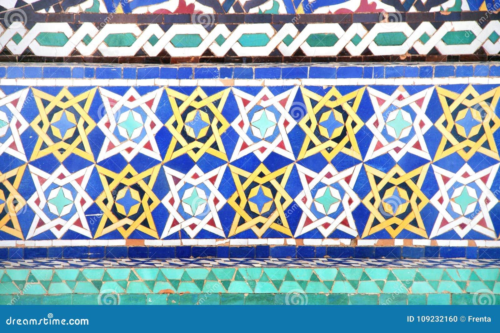 Szczegół tradycyjna marokańska mozaiki ściana, Maroko