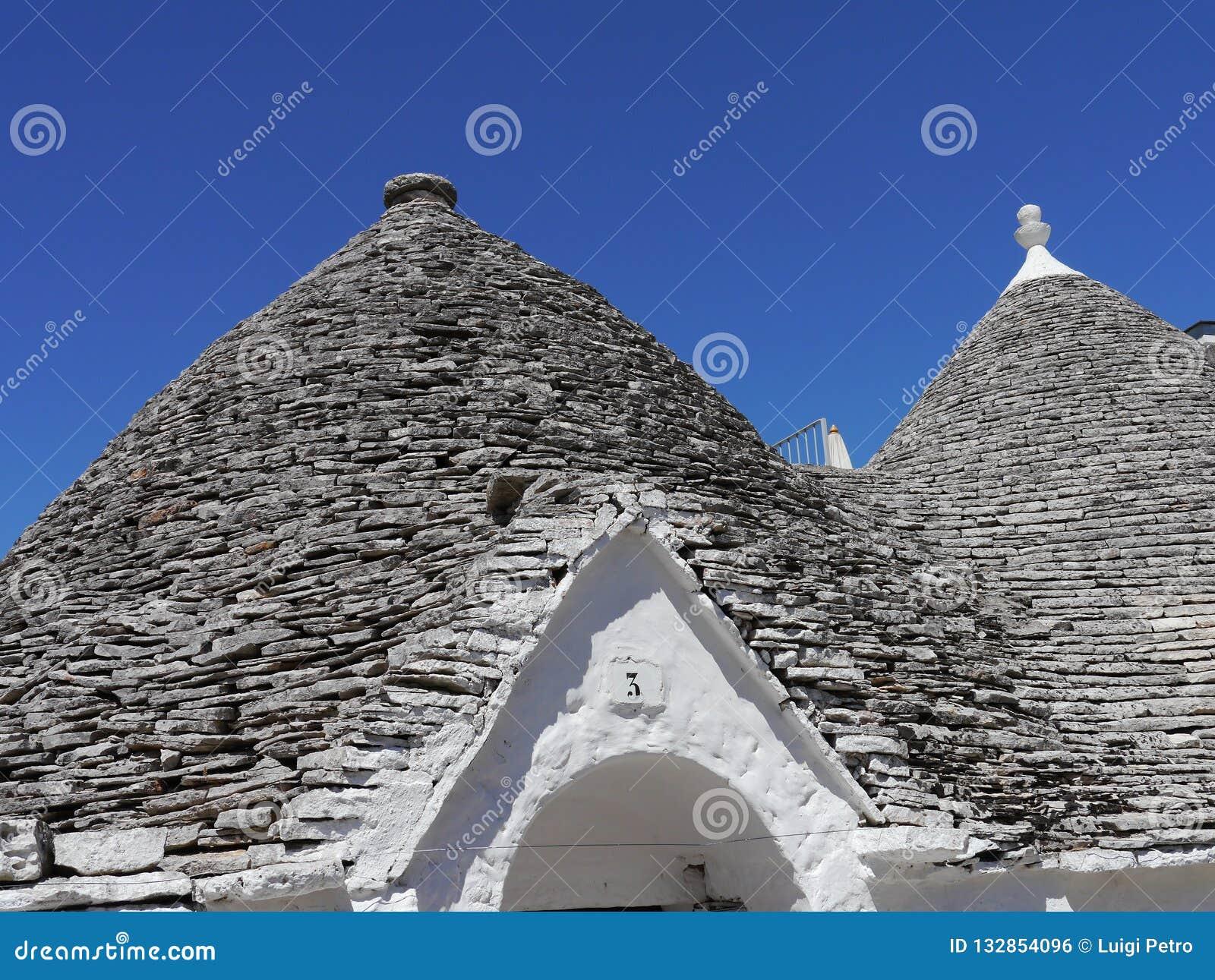 Szczegół trullo w Alberobello, Apulia region w Południowym Włochy