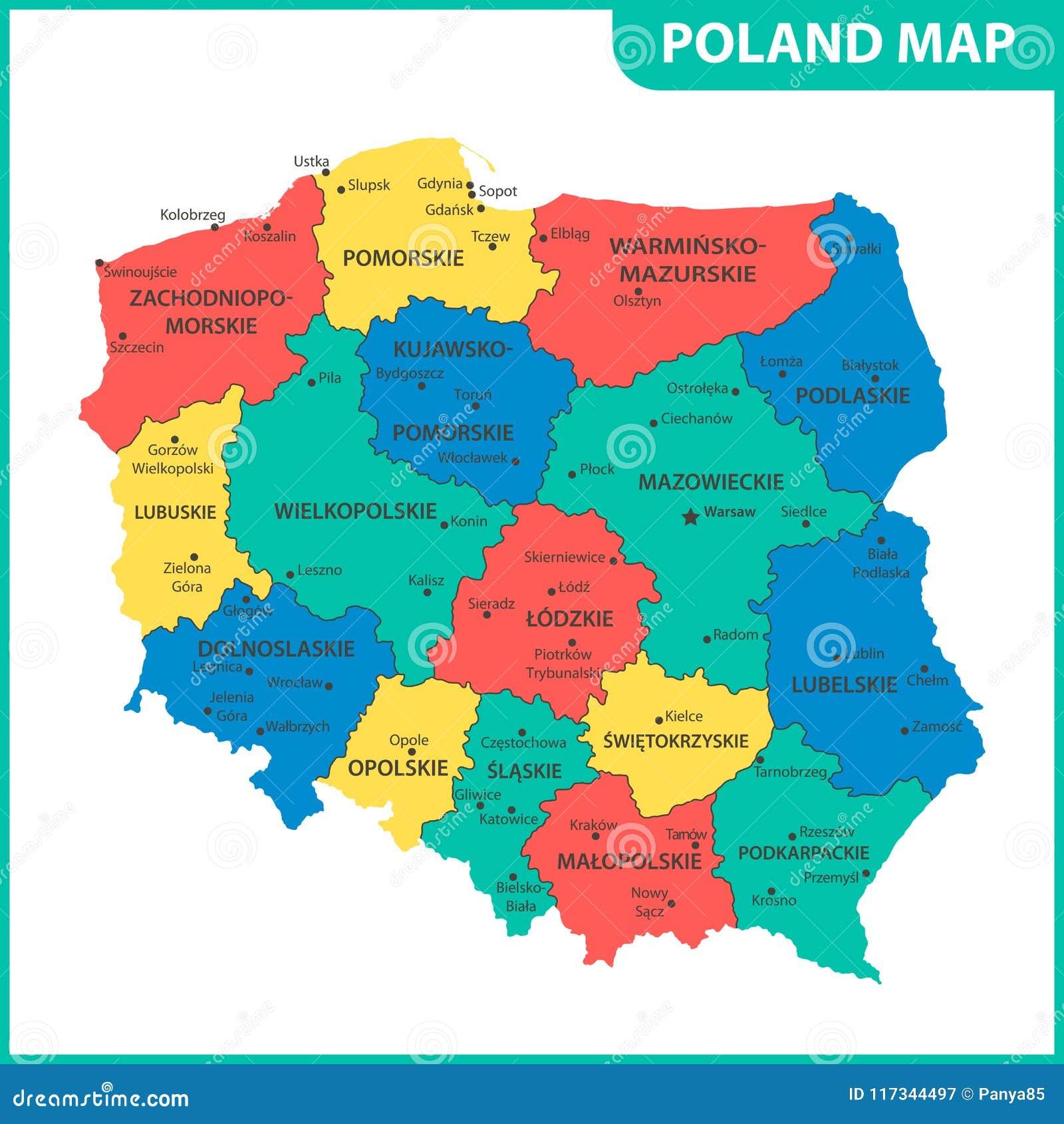 Szczegolowa Mapa Polska Z Regionami Stany Lub Miasta Capitals