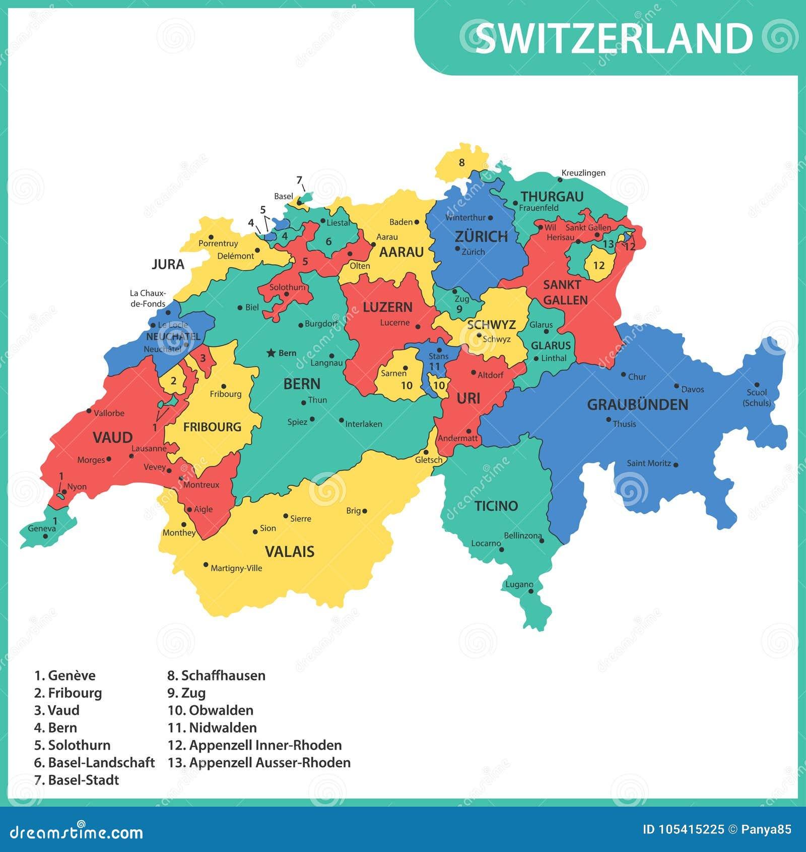 Szczegolowa Mapa Szwajcaria Z Regionami Stany Lub Miasta