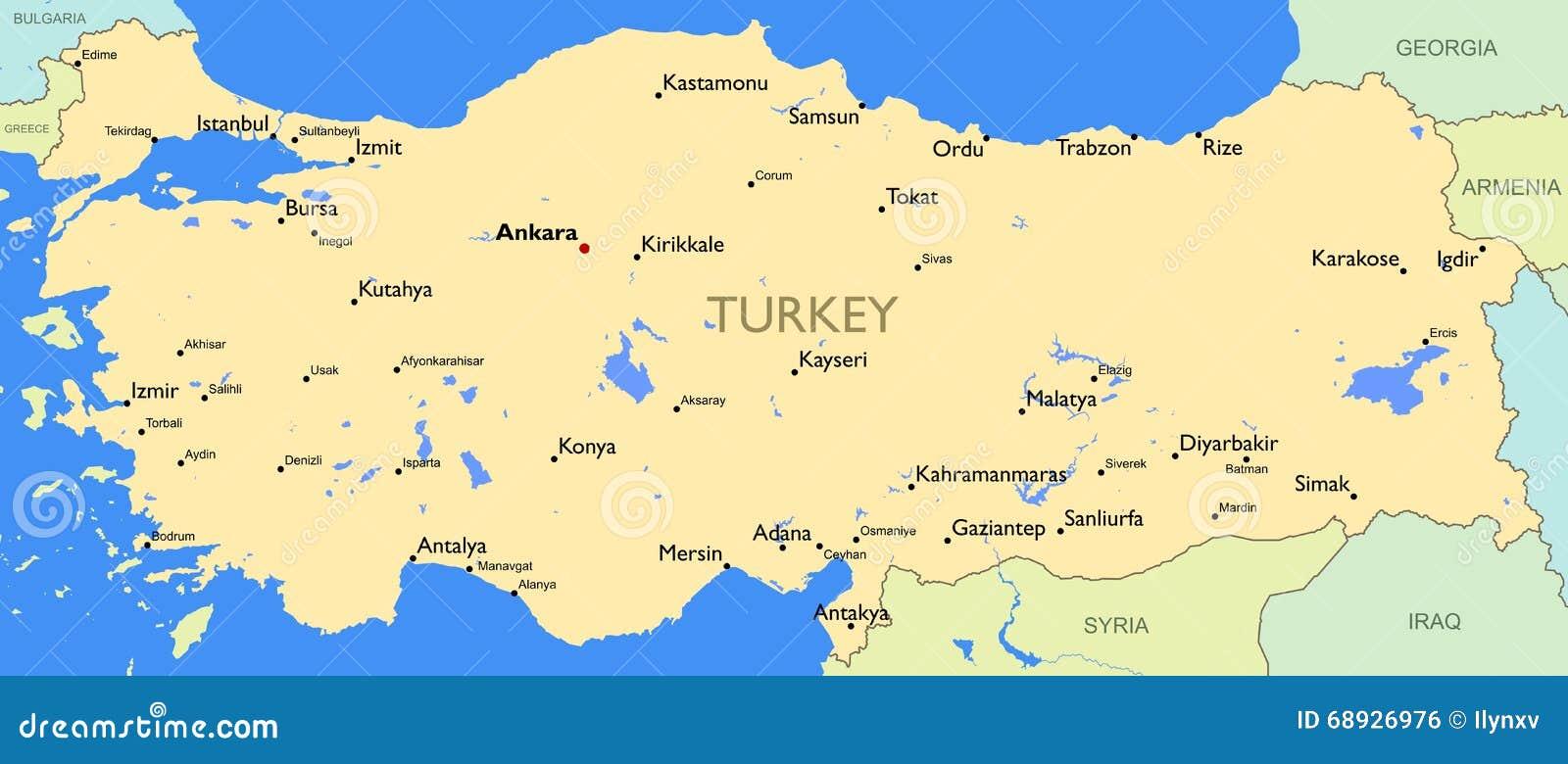 Szczegolowa Mapa Turcja Ilustracja Wektor Ilustracja Zlozonej Z