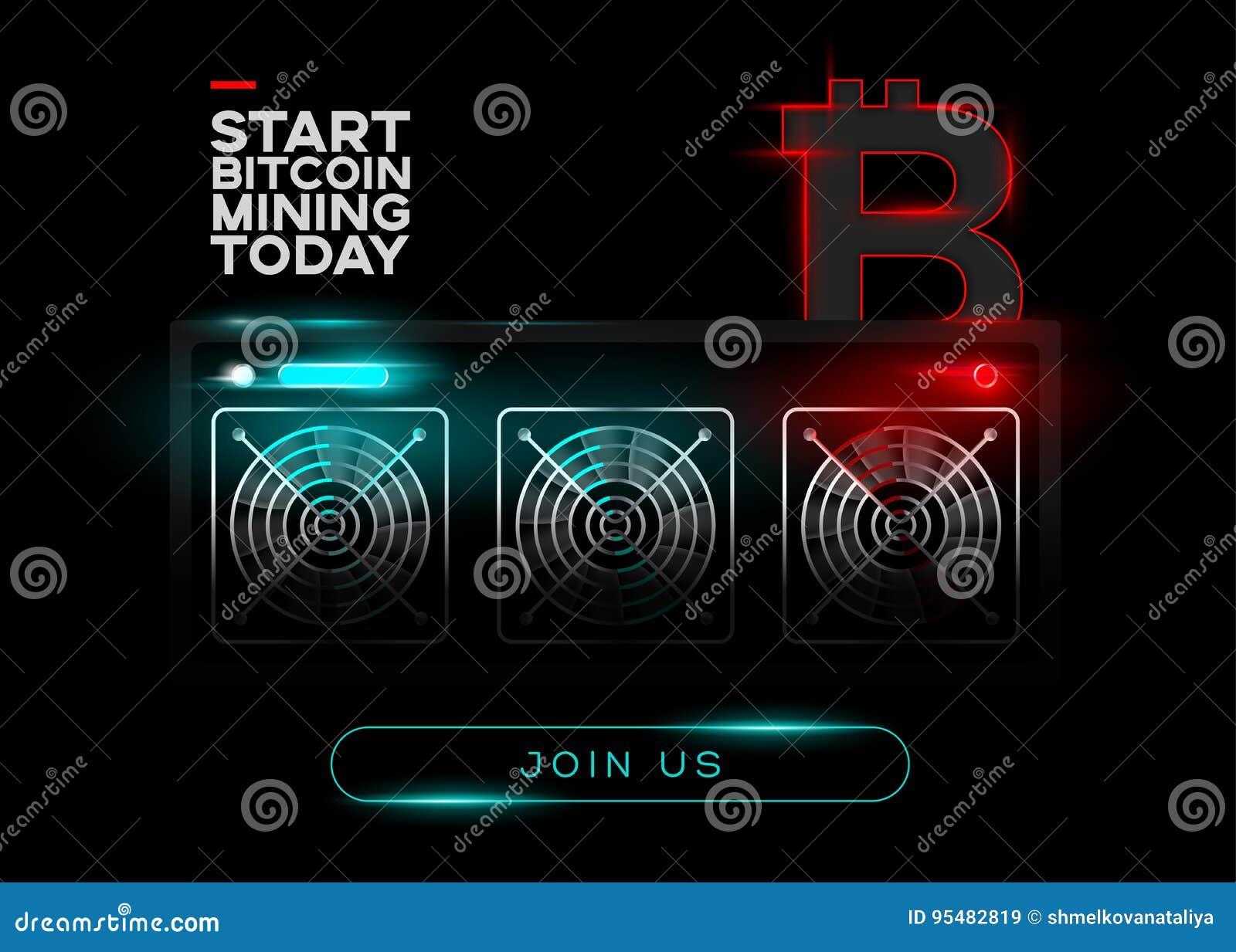 Szczegółowa Wektorowa ilustracja Bitcoin górnicy L i Czerwony Bitcoin