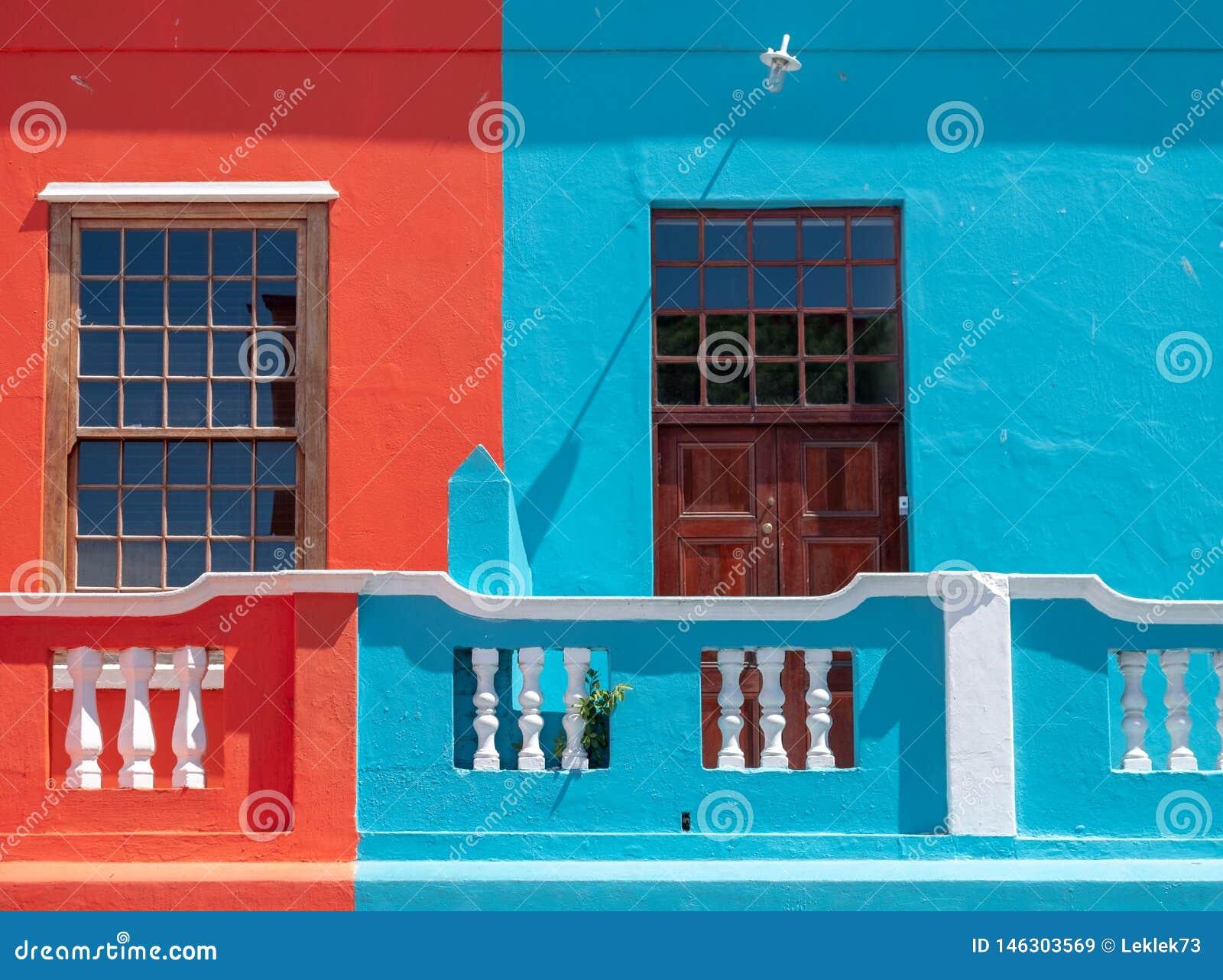 Szczeg??owa fotografia kolorowi domy w malajczyk ?wiartce, Bo Kaap, Kapsztad, Po?udniowa Afryka
