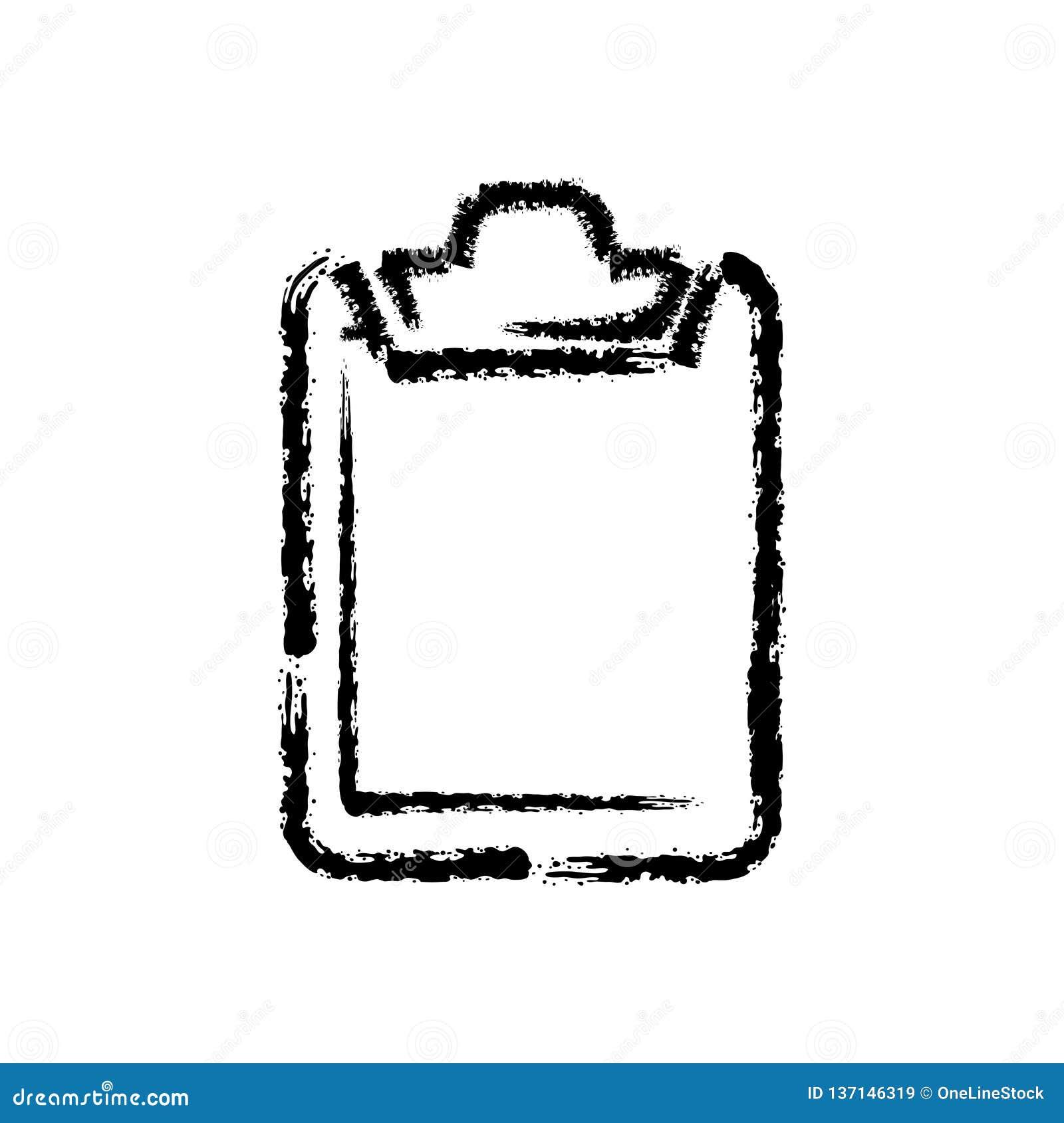 Szczotkarska ręka rysująca uderzenie ikona schowek