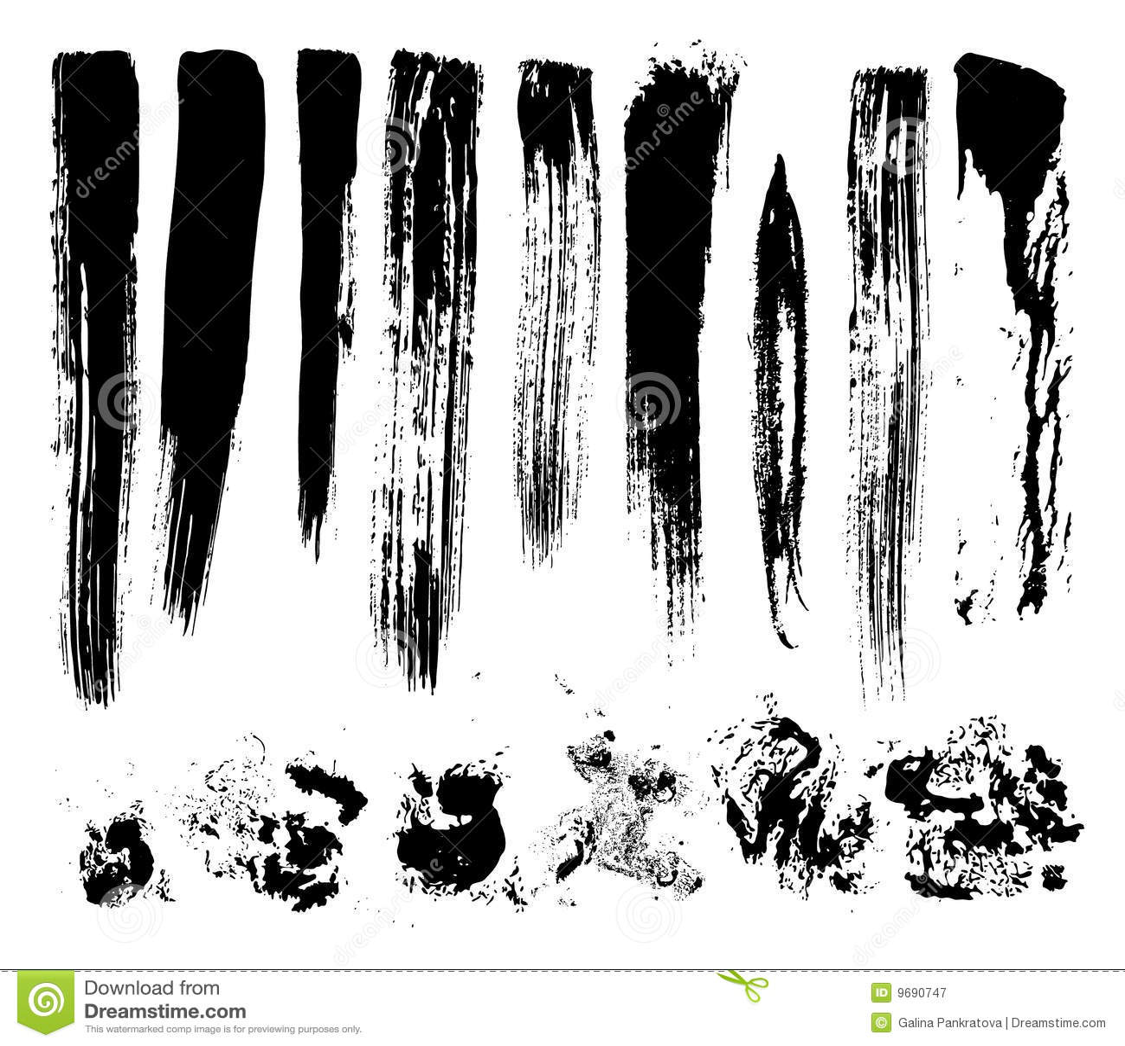 Szczotkarski set plami uderzenie wektor
