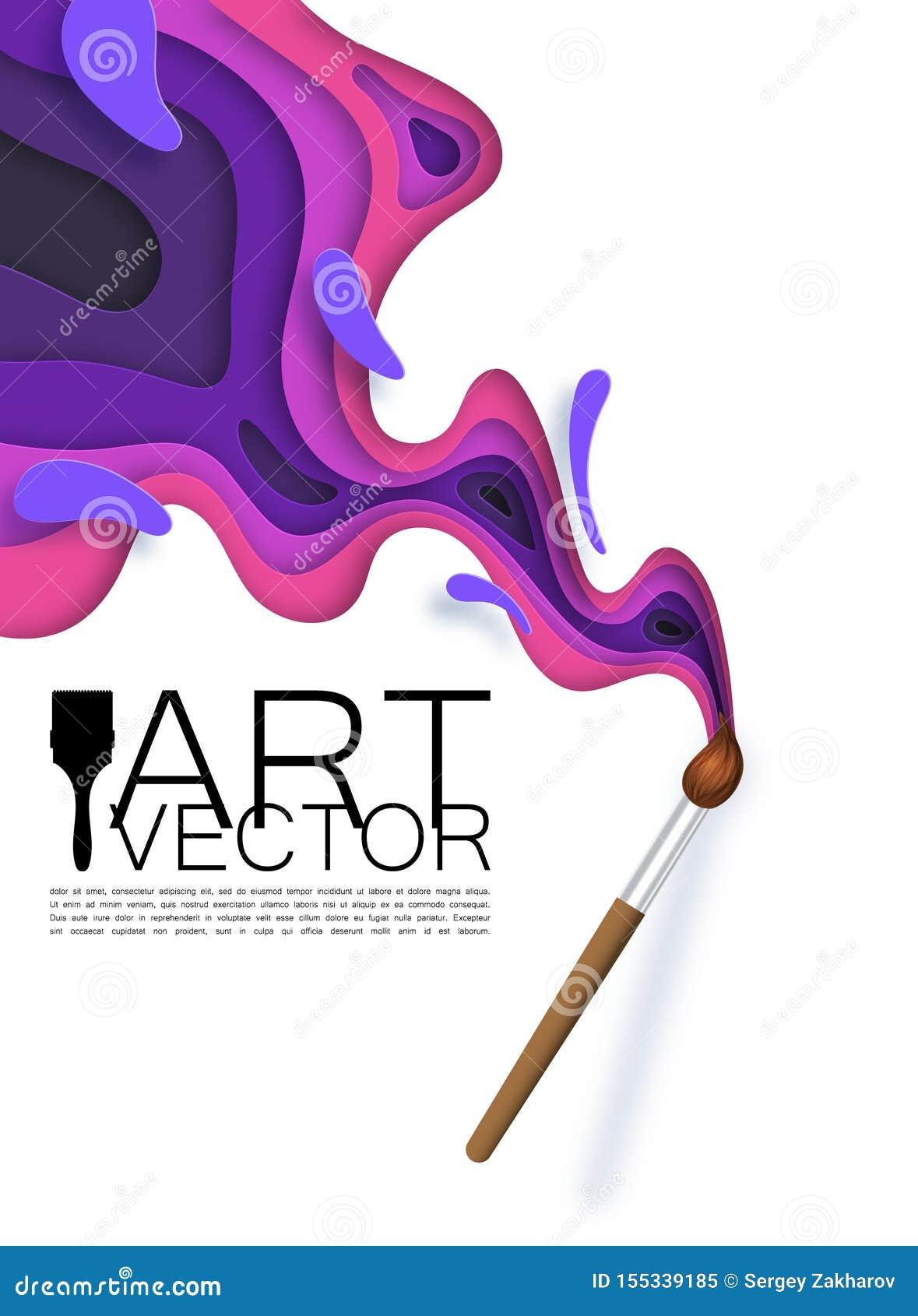 Szczotkuje, ciie za, artysta plamy farba różni kolory w papieru stylu,