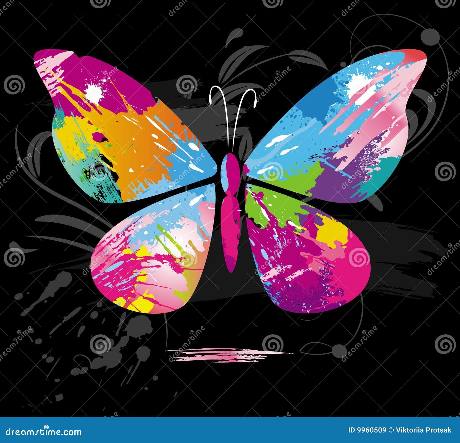 Szczotkuje kolor motylią linię pluśnięcia