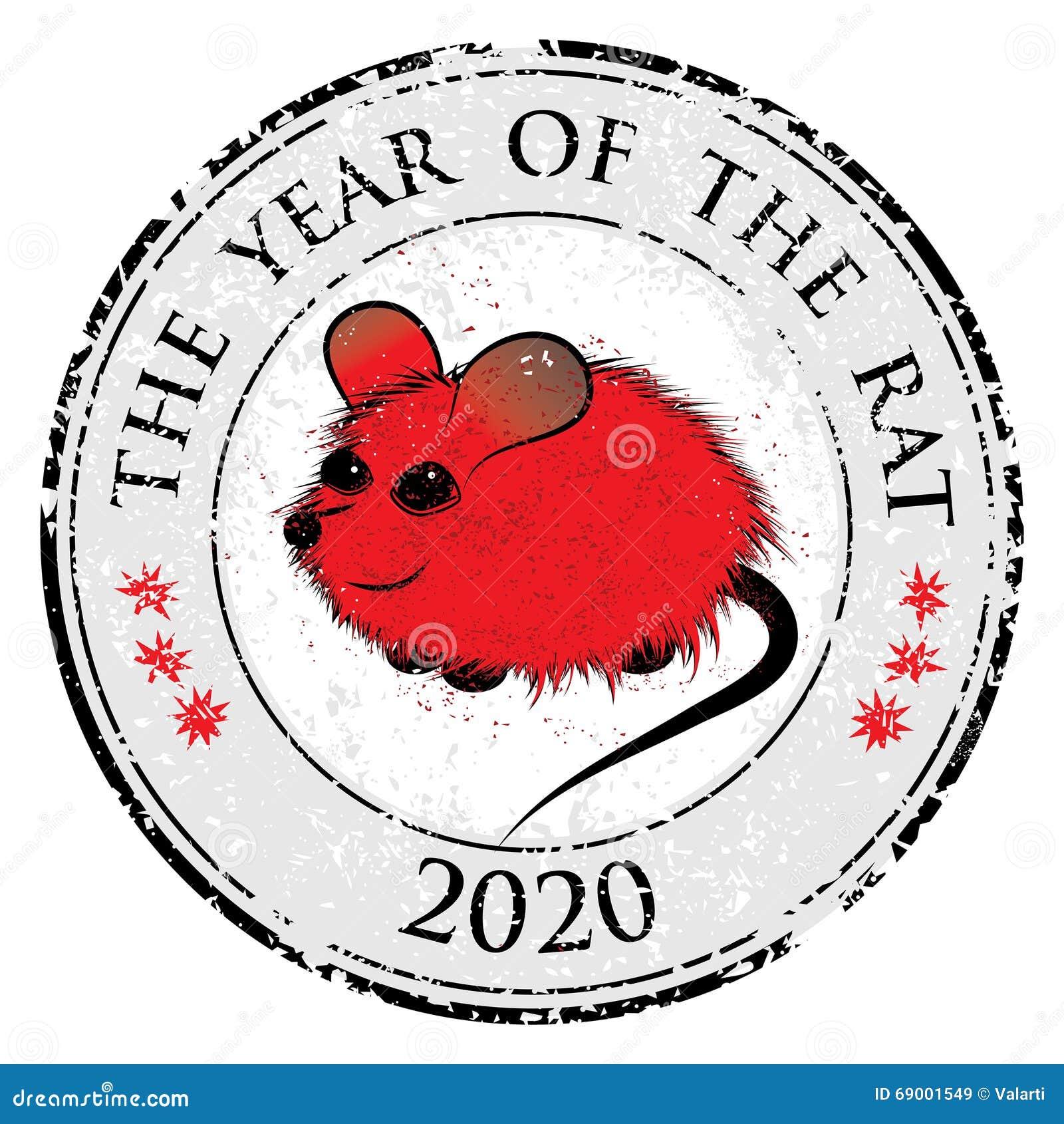 Szczur, mysz horoskopu zwierzęcia chiński znak Wektorowy stemplowy sztuka wizerunek w dekoracyjnym stylu
