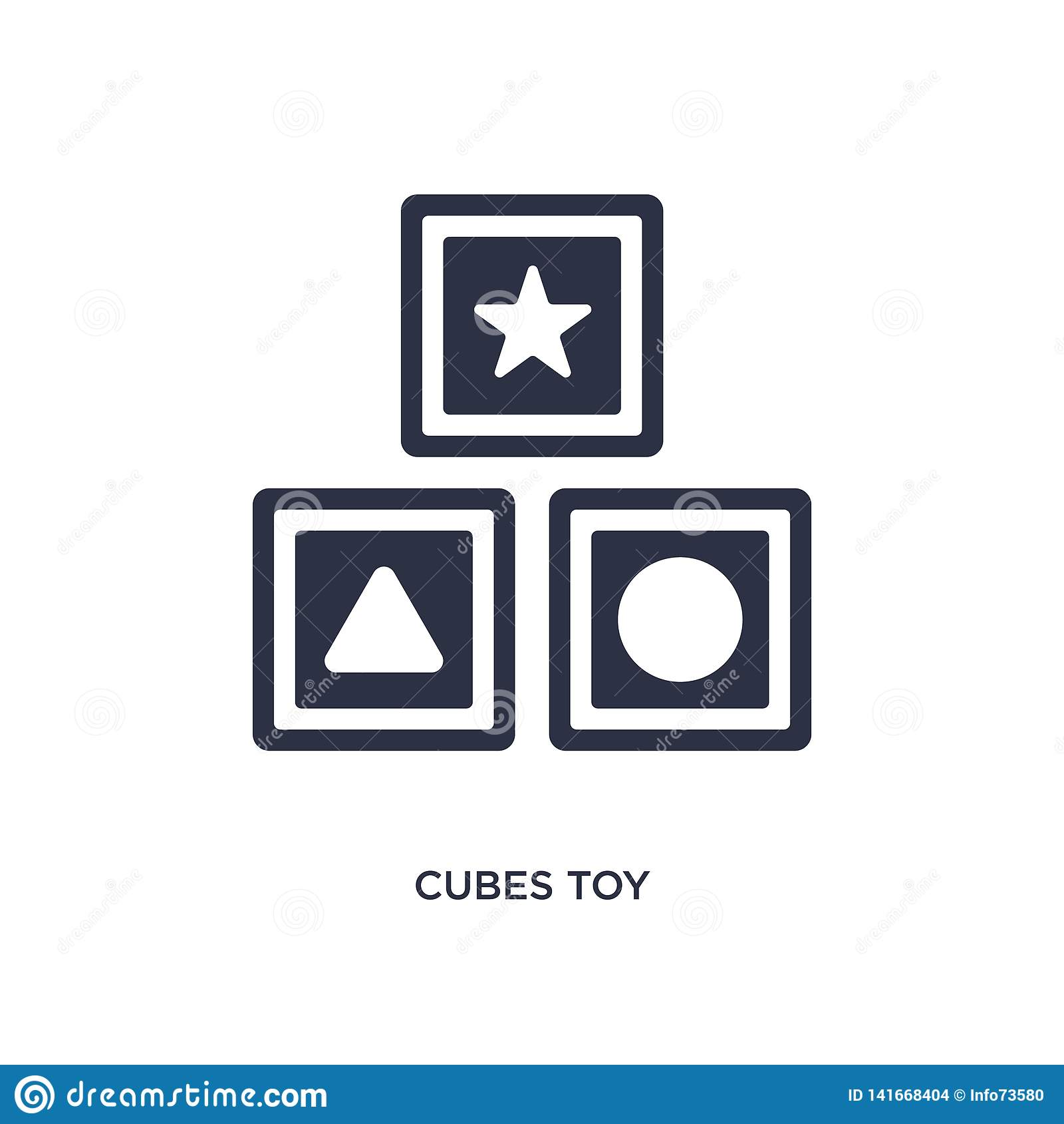 Sześciany bawją się ikonę na białym tle Prosta element ilustracja od zabawki pojęcia