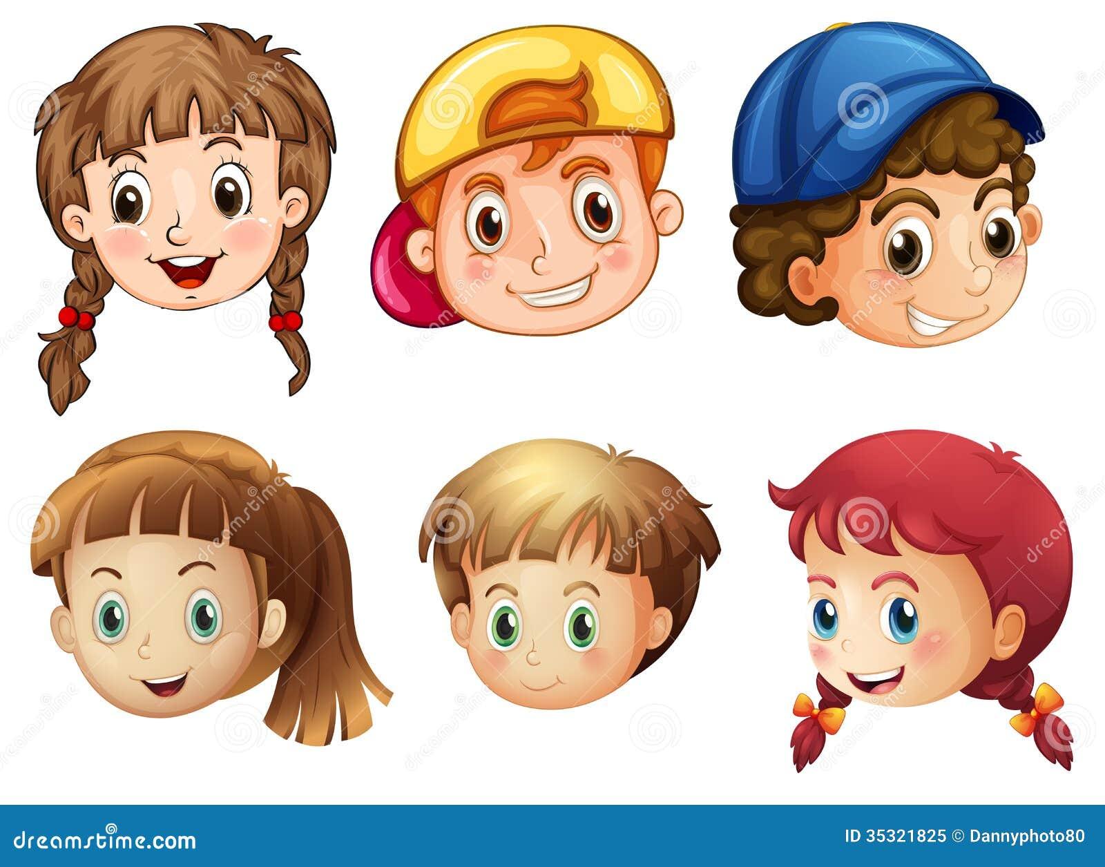 Sześć różnych twarzy
