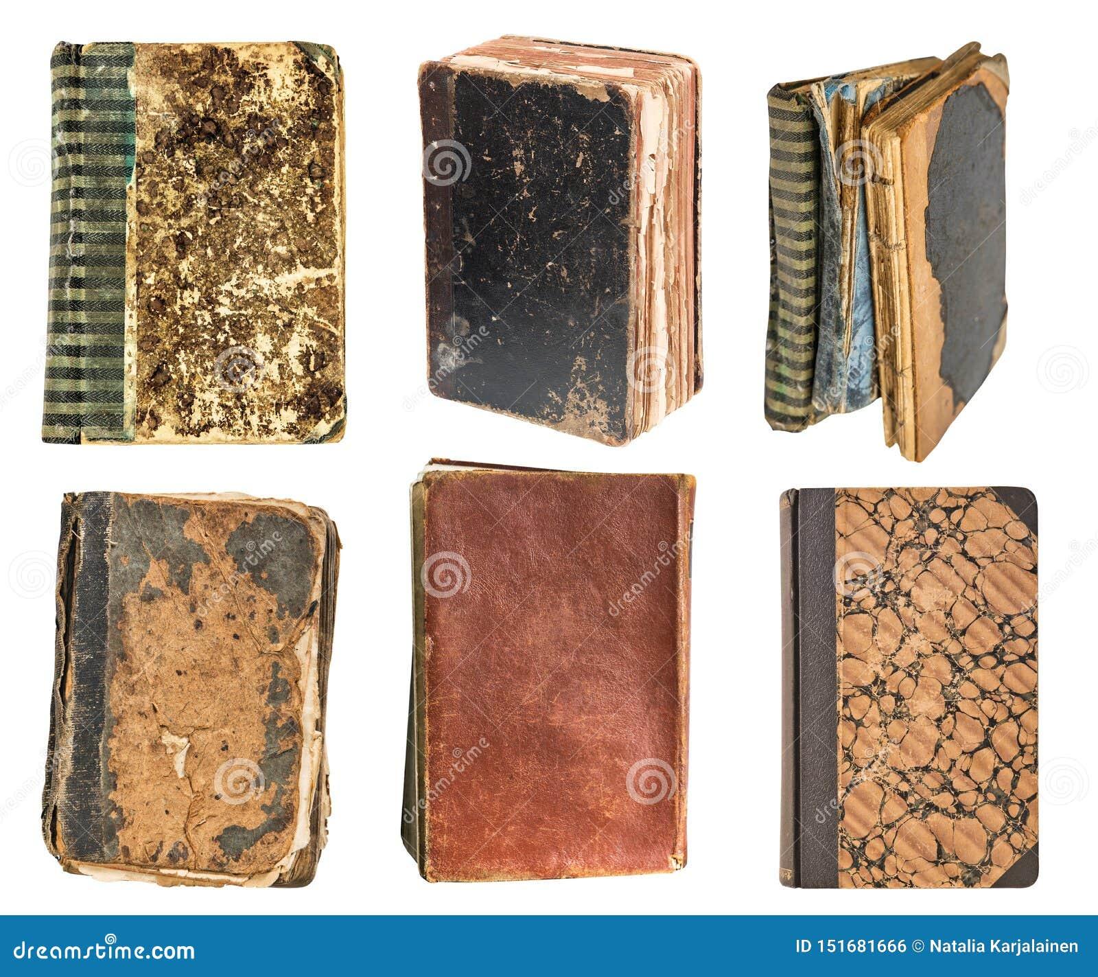 Sześć roczników prawdziwych starych książek odizolowywających na białym tle stara biblioteka