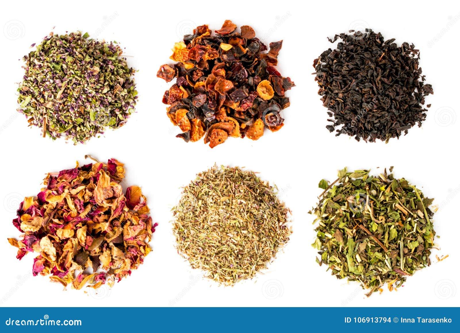 Sześć typ herbata na białym tle, odizolowywających