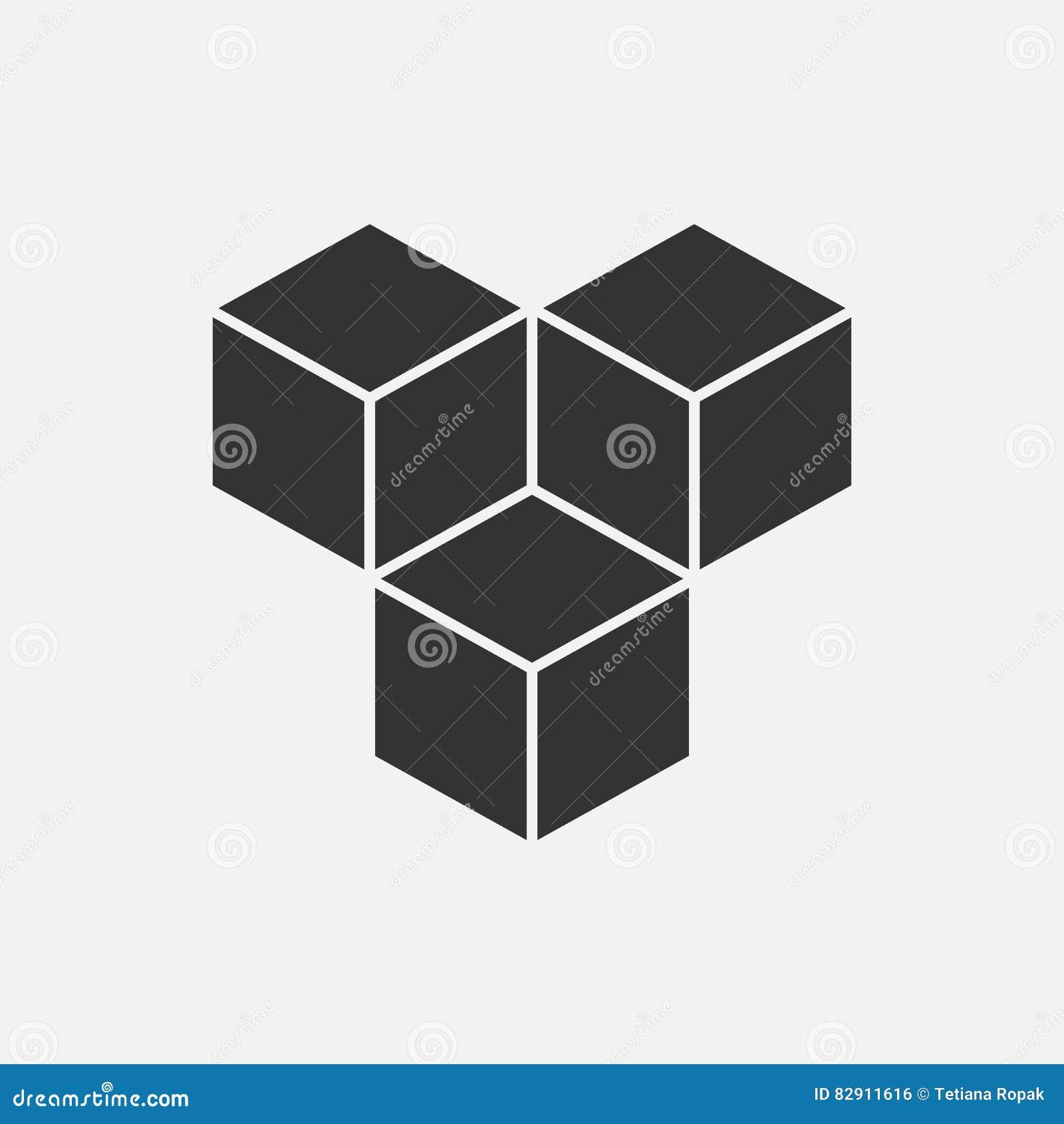 Sześcianu loga isometric pojęcie, 3d wektoru ilustracja Płaski projekta styl Sześcian budowa Szyldowy wzór projekt graficzny Moda