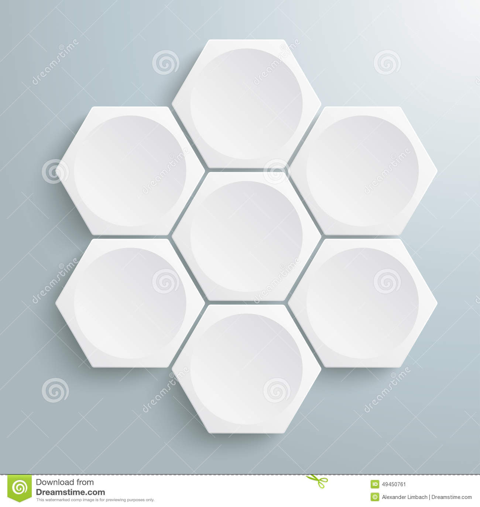 6 sześciokątów Biały cykl