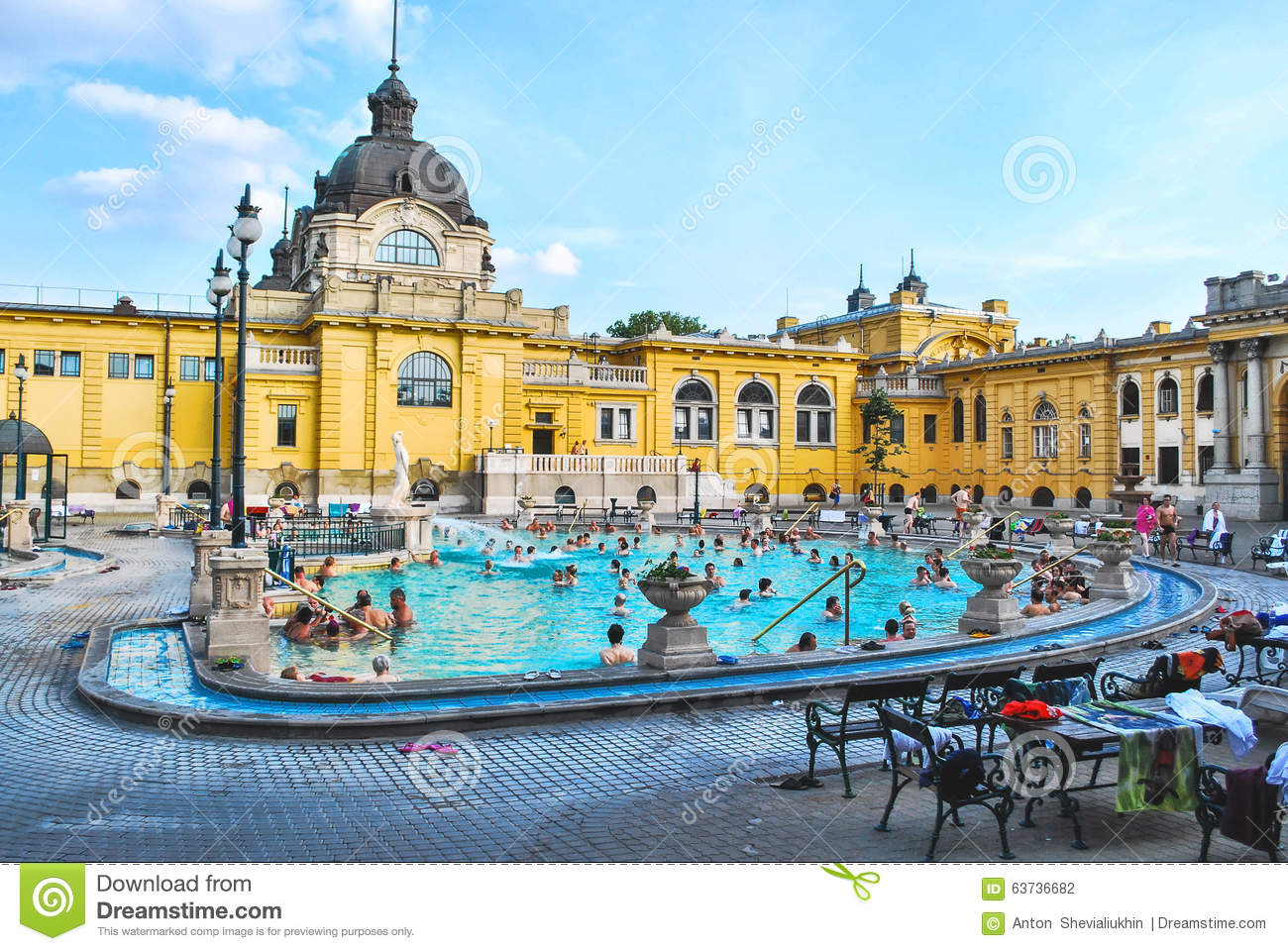 Szechenyi Baths In Budapest In Hungary On A Sunny Day. Editorial ...