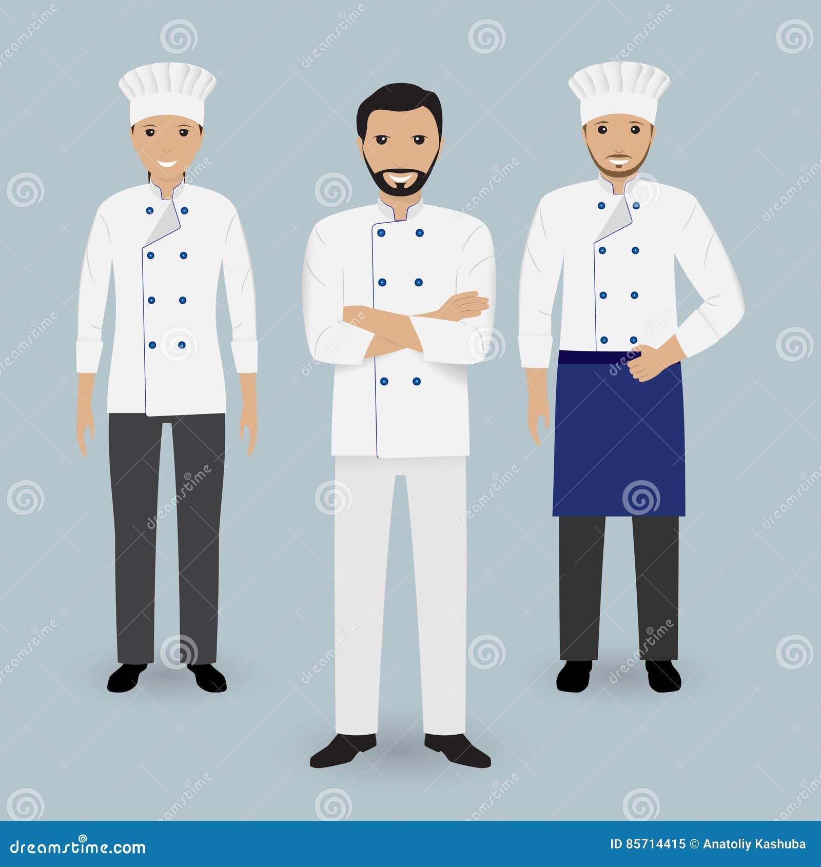 Szef kuchni i dwa kucharz w jednolitej pozyci wpólnie Kulinarni ludzie charakterów