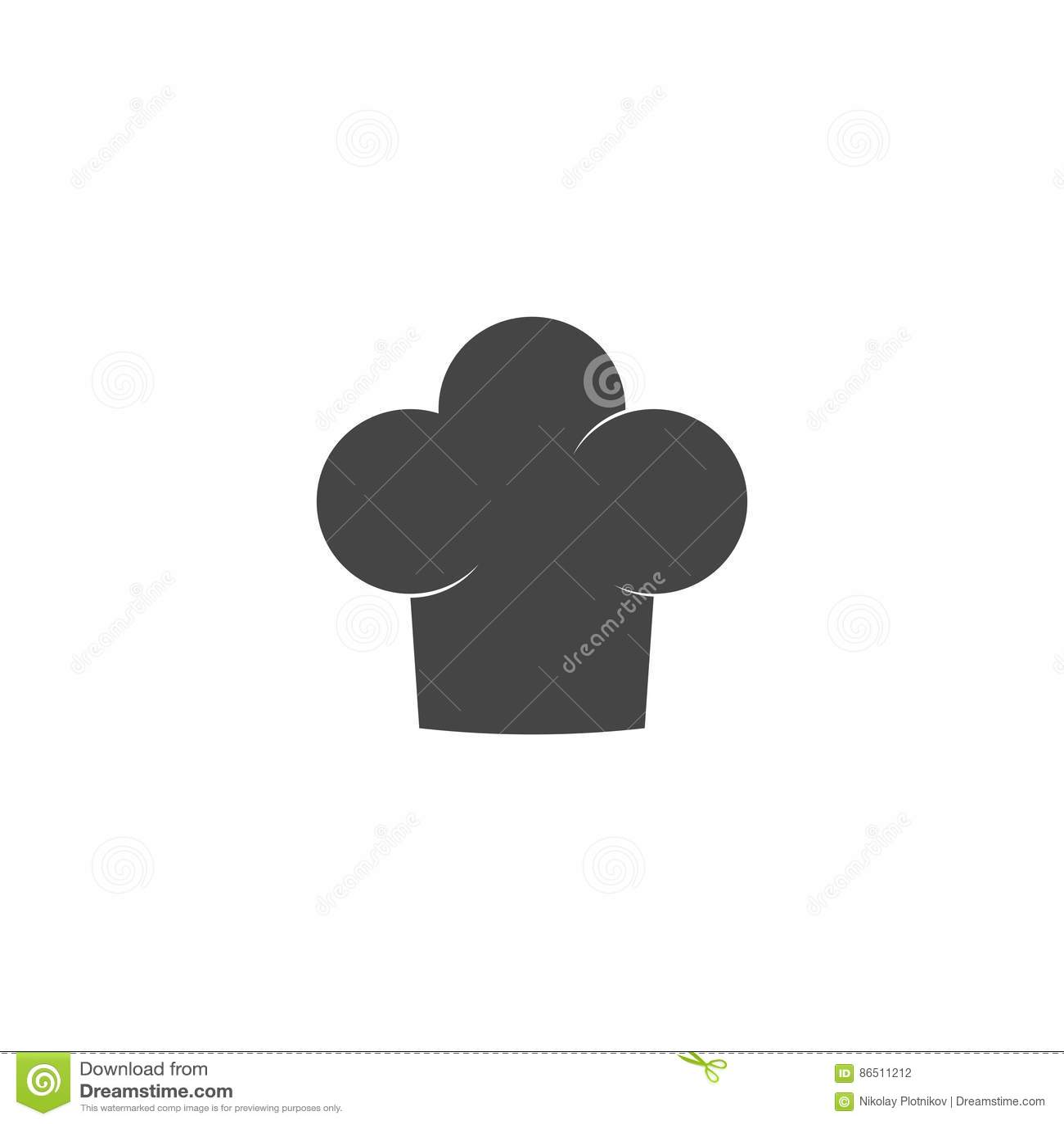 Szef kuchni kapeluszowa ikona odizolowywająca na białym tle Ubraniowy kucharz w mieszkanie stylu
