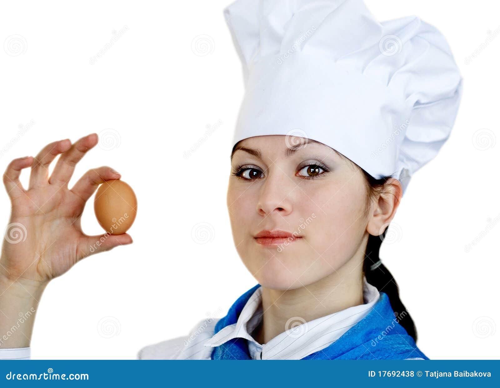 Szef kuchni kapeluszu kobieta