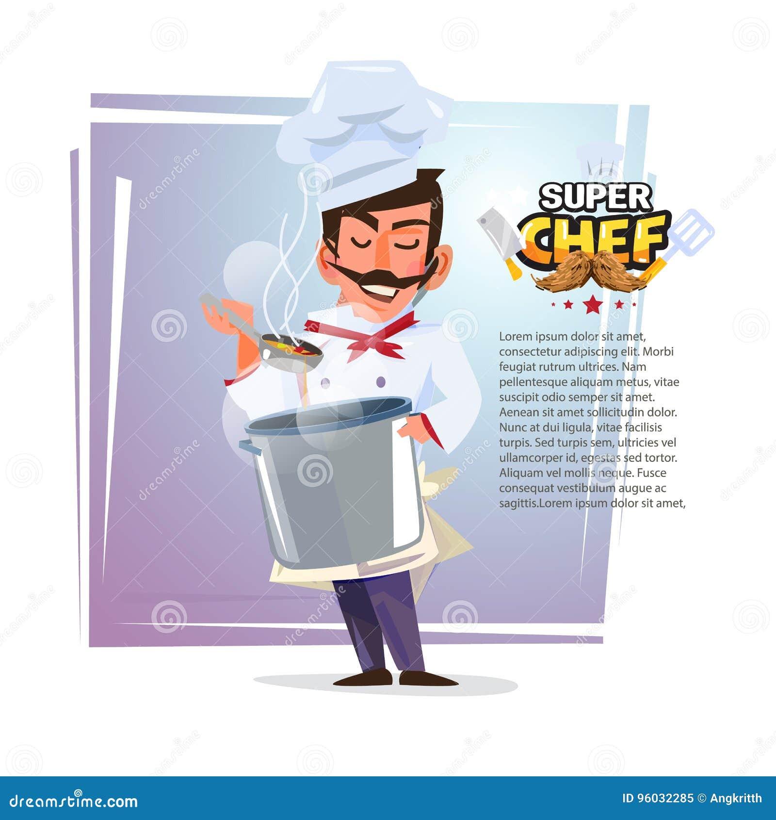 Szef kuchni kosztuje karmowego odór z garnkiem w jego ręce charakteru desi