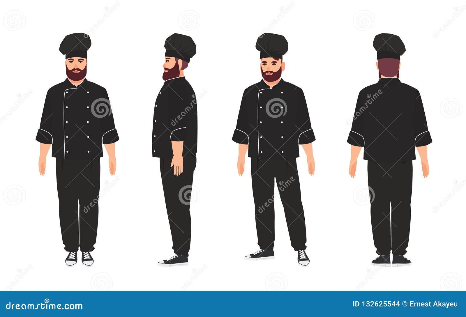 Szef kuchni, kwalifikujący kucharz, fachowy pracownik jest ubranym, restauracji lub kuchni czerni toque i mundur Męski postać z k