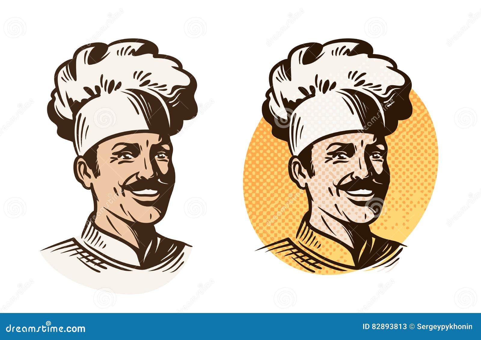 Szef kuchni, piekarz, kucbarski symbol Gotować, restauraci lub kawiarni logo, również zwrócić corel ilustracji wektora