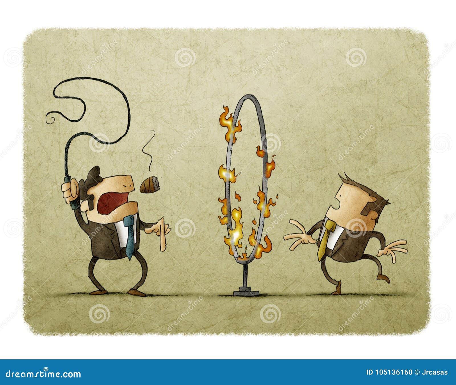 Szef z batem w jego ręce sygnalizuje pracownika przechodzić przez obręcza ogień Uległości pojęcie