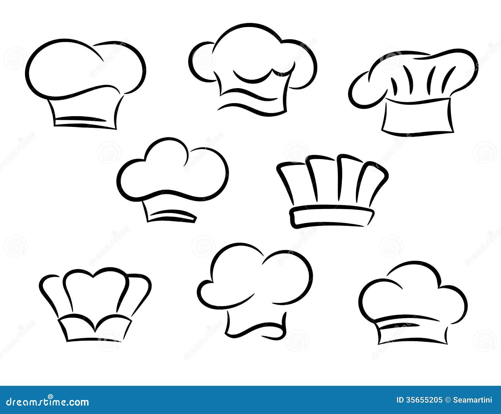 Szefa kuchni i kucharza kapelusze ustawiający