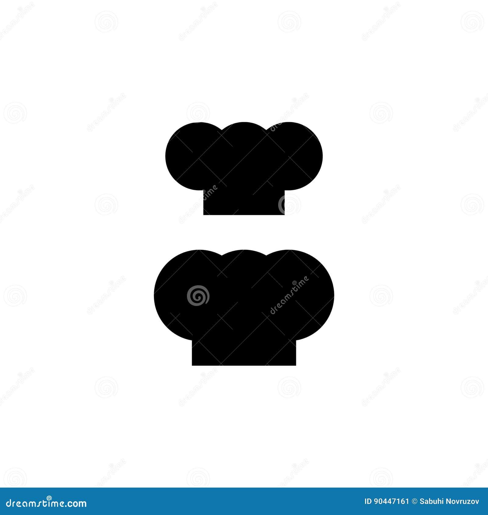 Szefa kuchni kapeluszowa sylwetka odizolowywający set Czarnego kapeluszu szefa kuchni kucharz