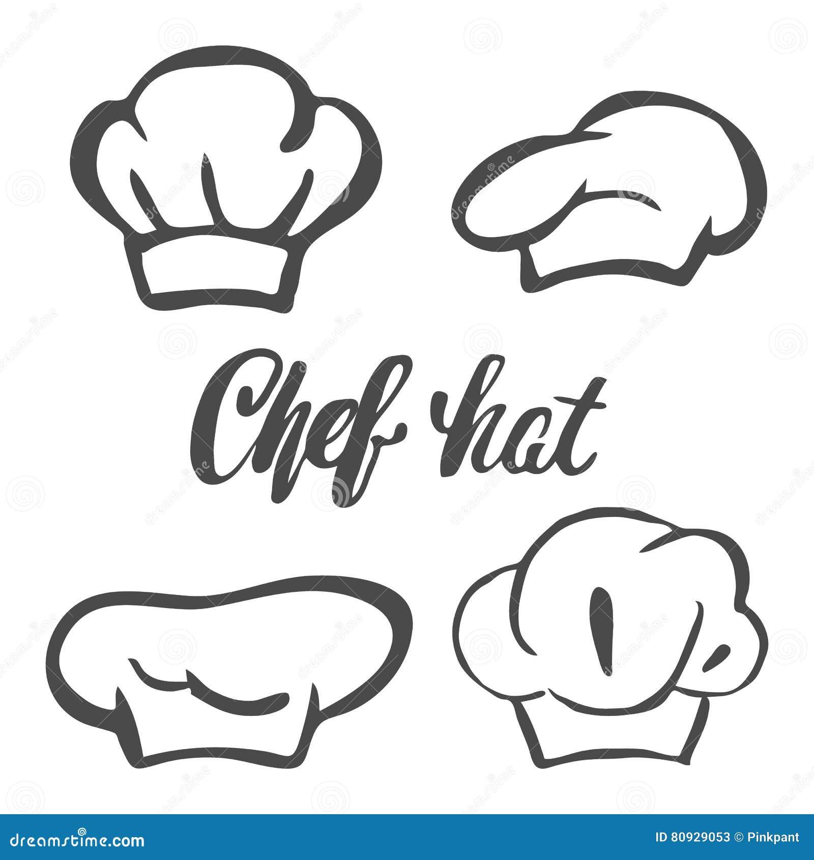 Szefa kuchni kapeluszowa sylwetka odizolowywający set Czarnego kapeluszu szefa kuchni kucharz dla loga