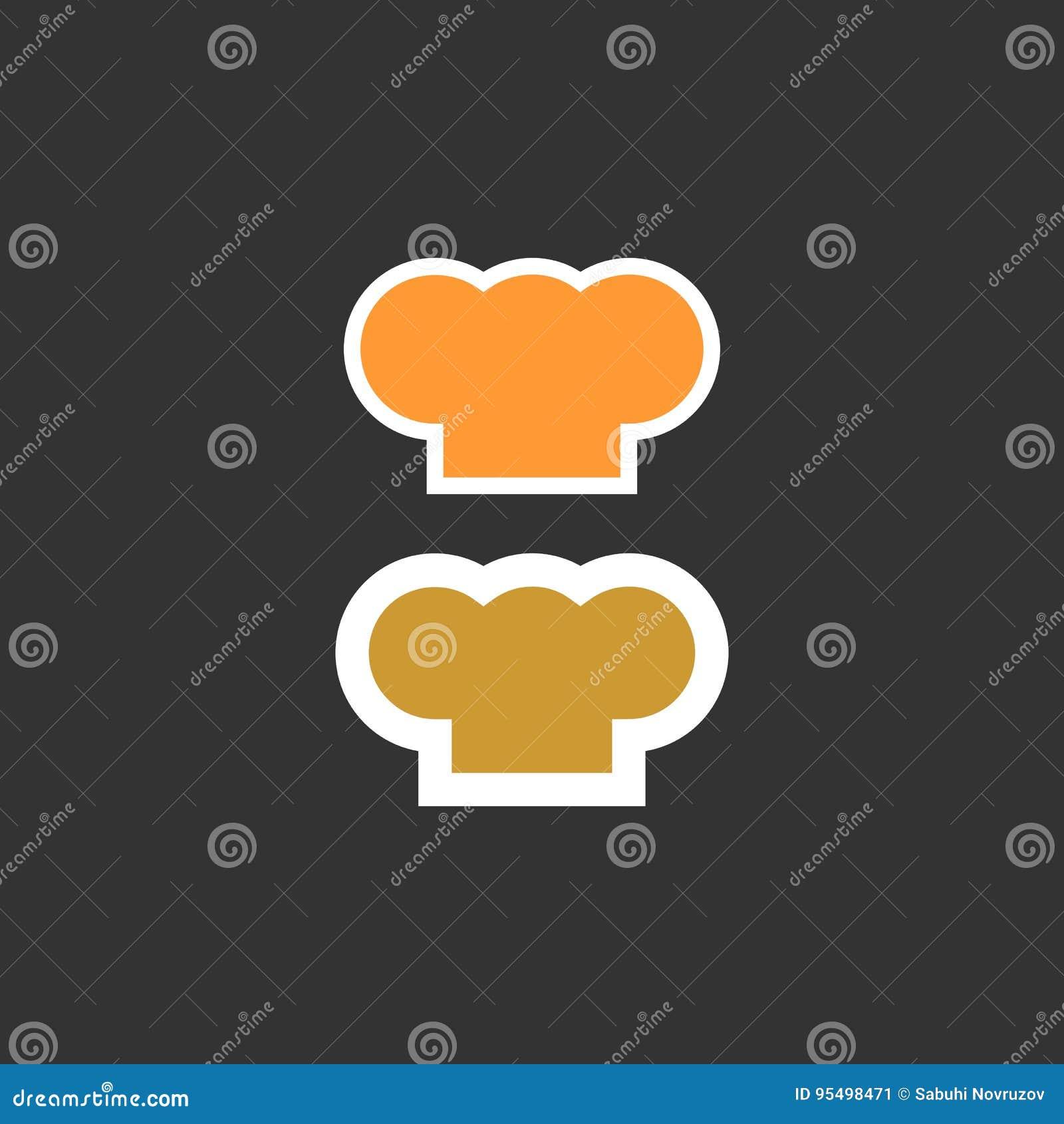 Szefa kuchni kapeluszowa sylwetka odizolowywający set kapeluszowy szefa kuchni kucharz