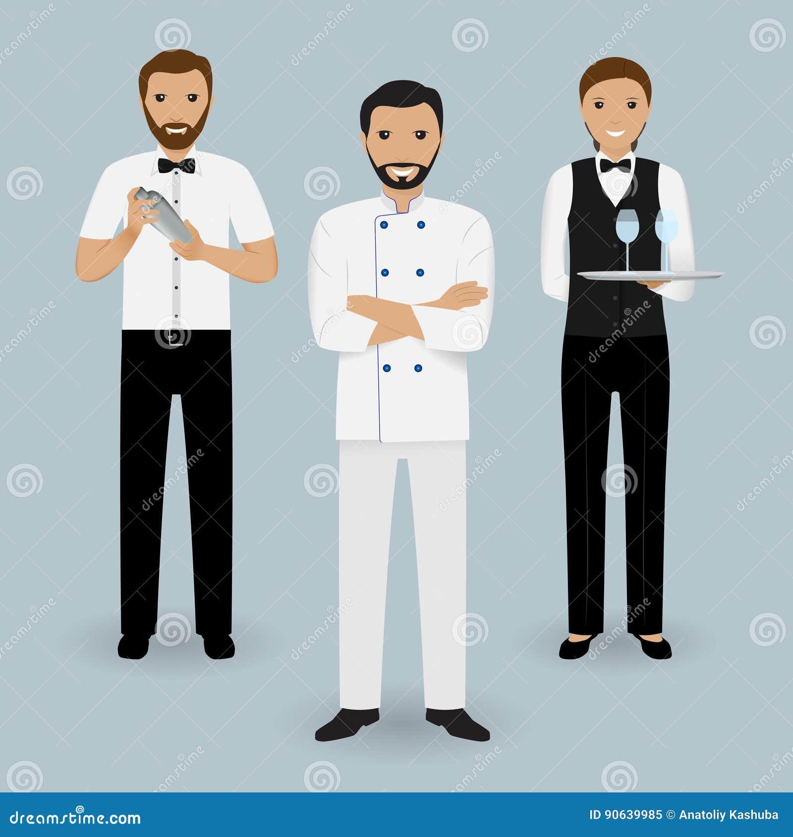 Szefa kuchni kucharz, kelnerka w mundurze i barman stoi wpólnie, Restauracyjni ludzie charakterów