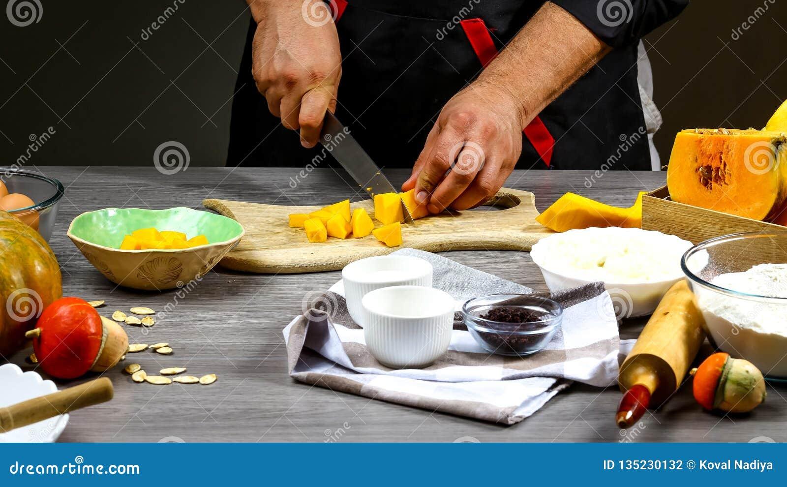 Szefa kuchni kulinarny Amerykański dyniowy kulebiak Karmowy pojęcia tło