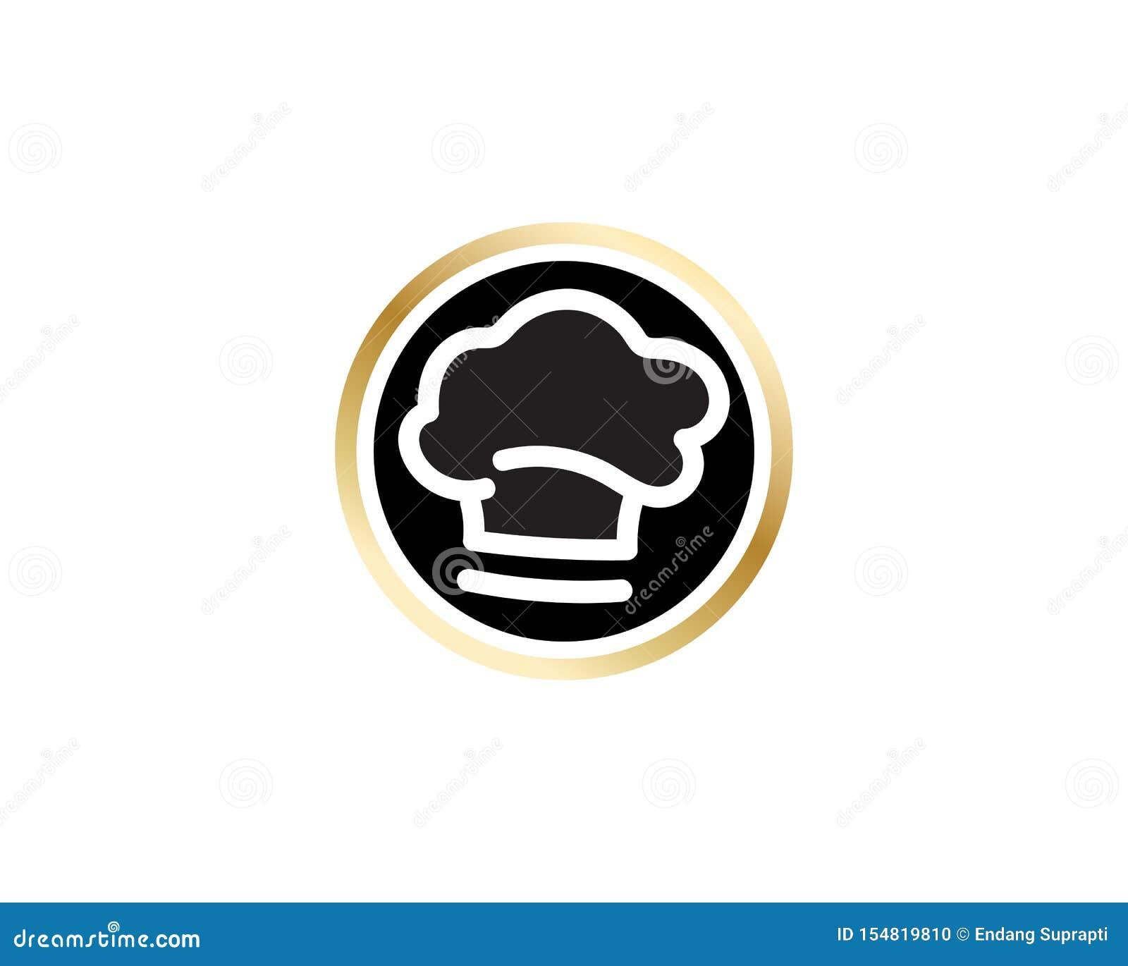 Szefa kuchni logo klasycznego kucbarskiego cateringu wektorowy projekt