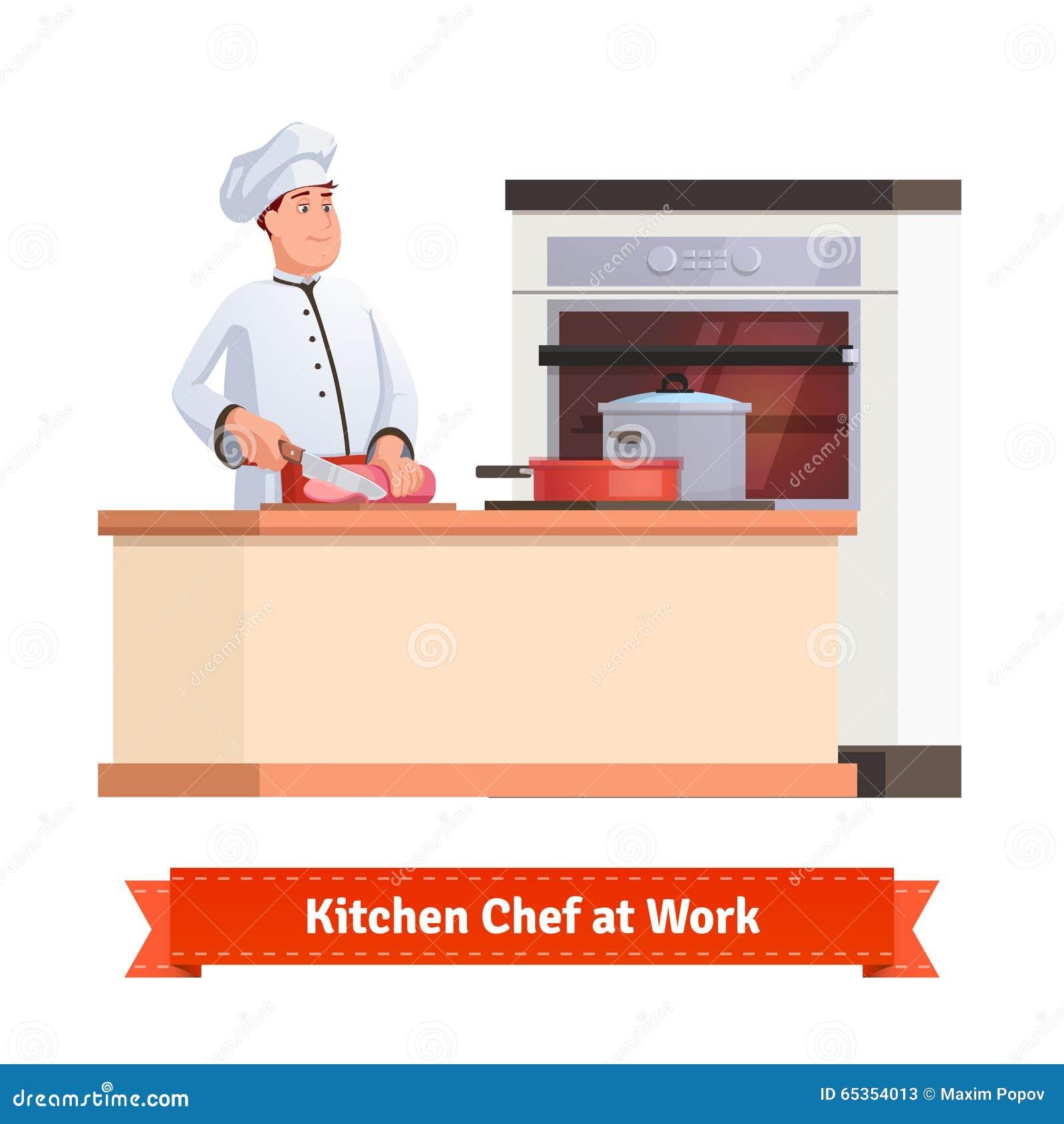 Szefa kuchni przecinania kucbarski mięso z nożem przy stołem